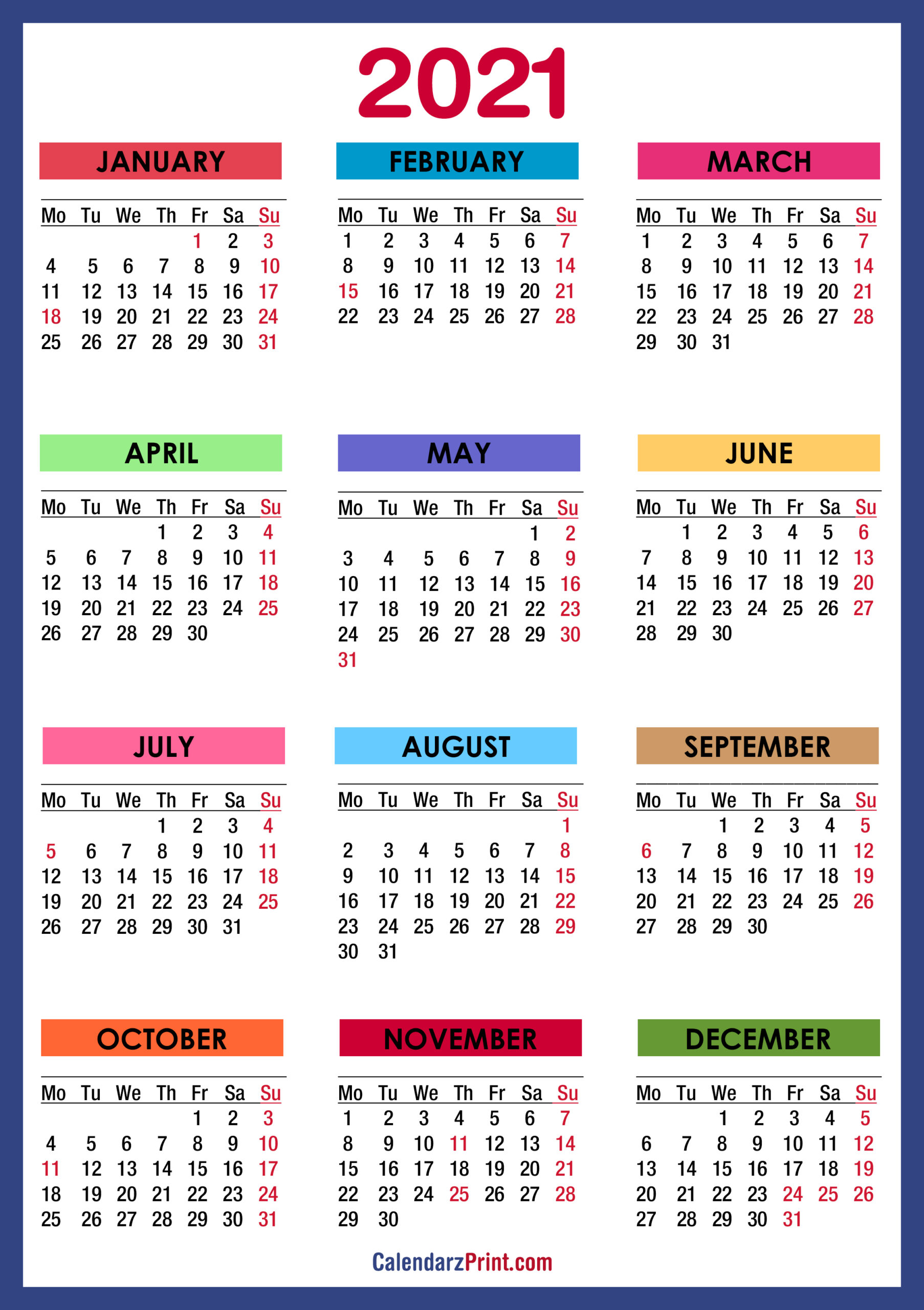 2021 Calendars With Us Holidays