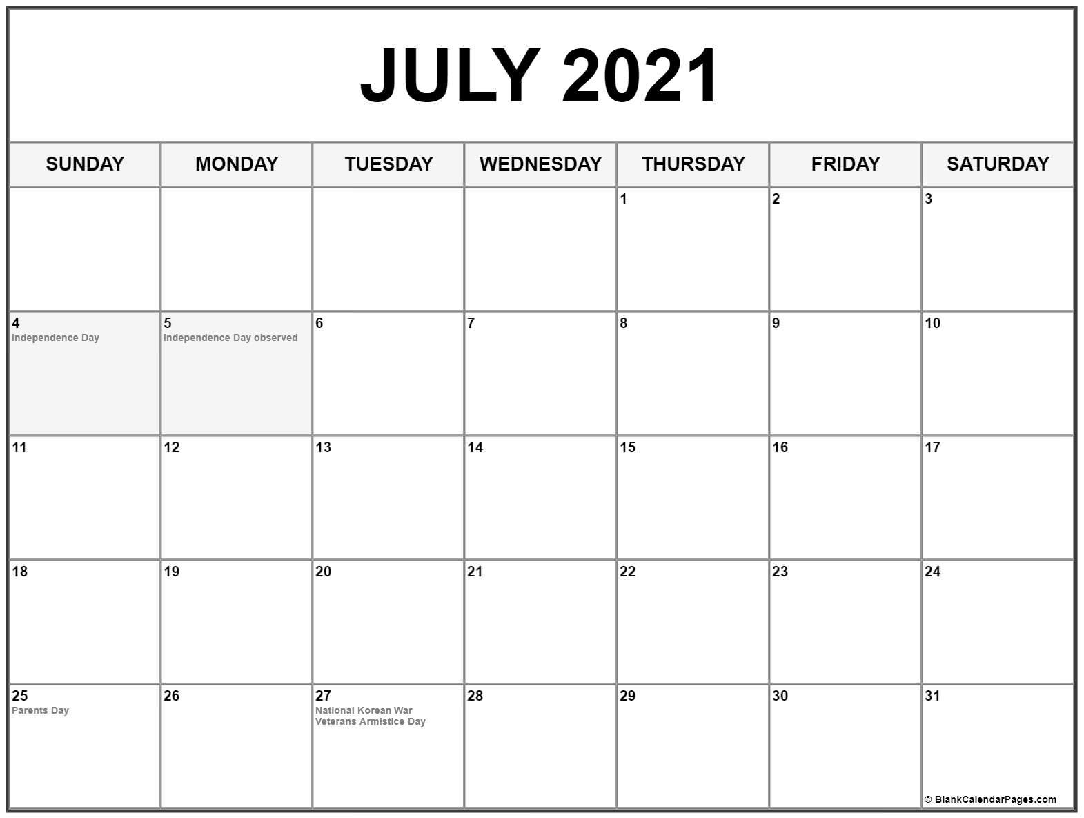 2021 Canadian Calendar With Holidays
