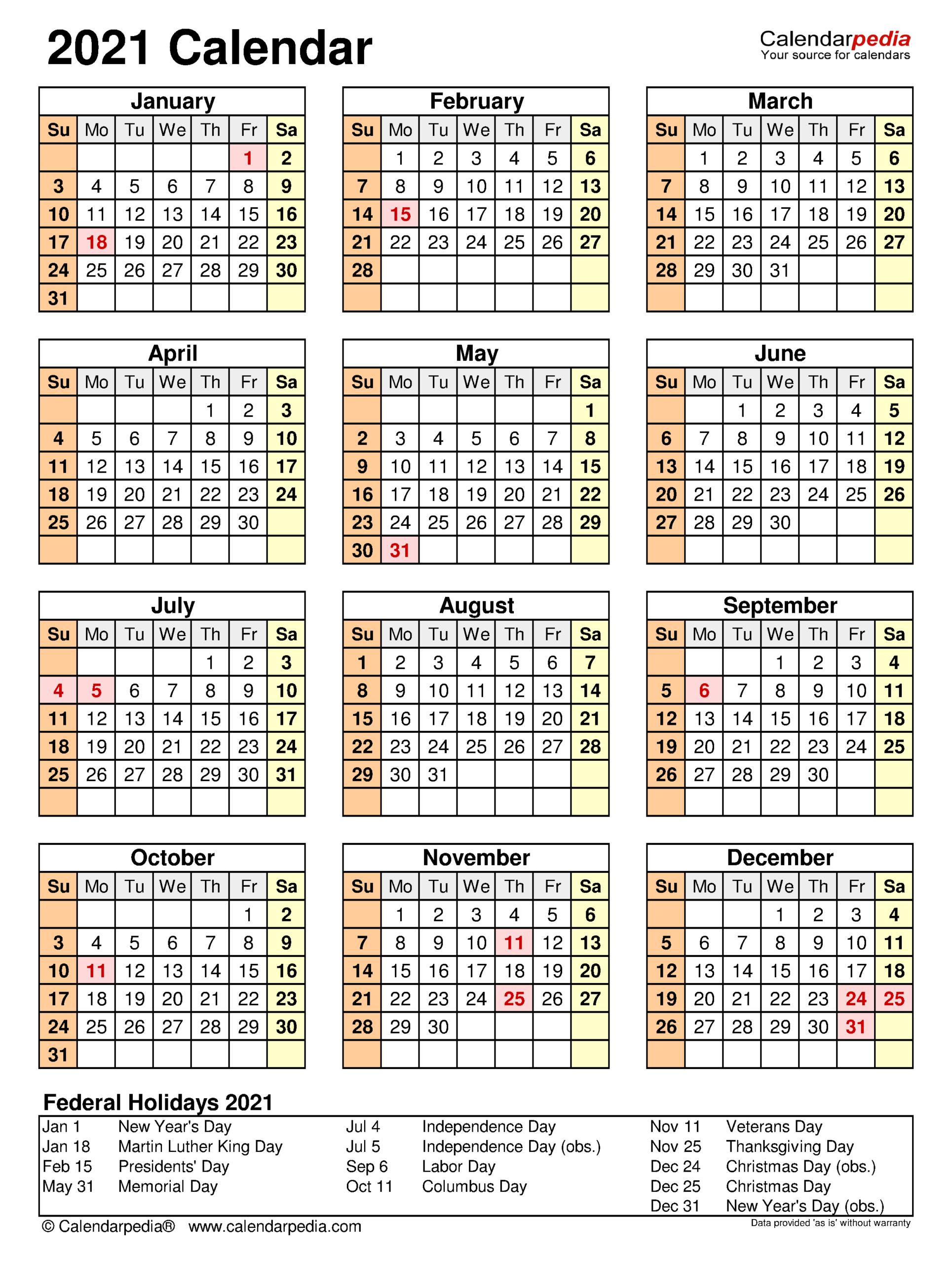 2021 Employee Attendance Calendar