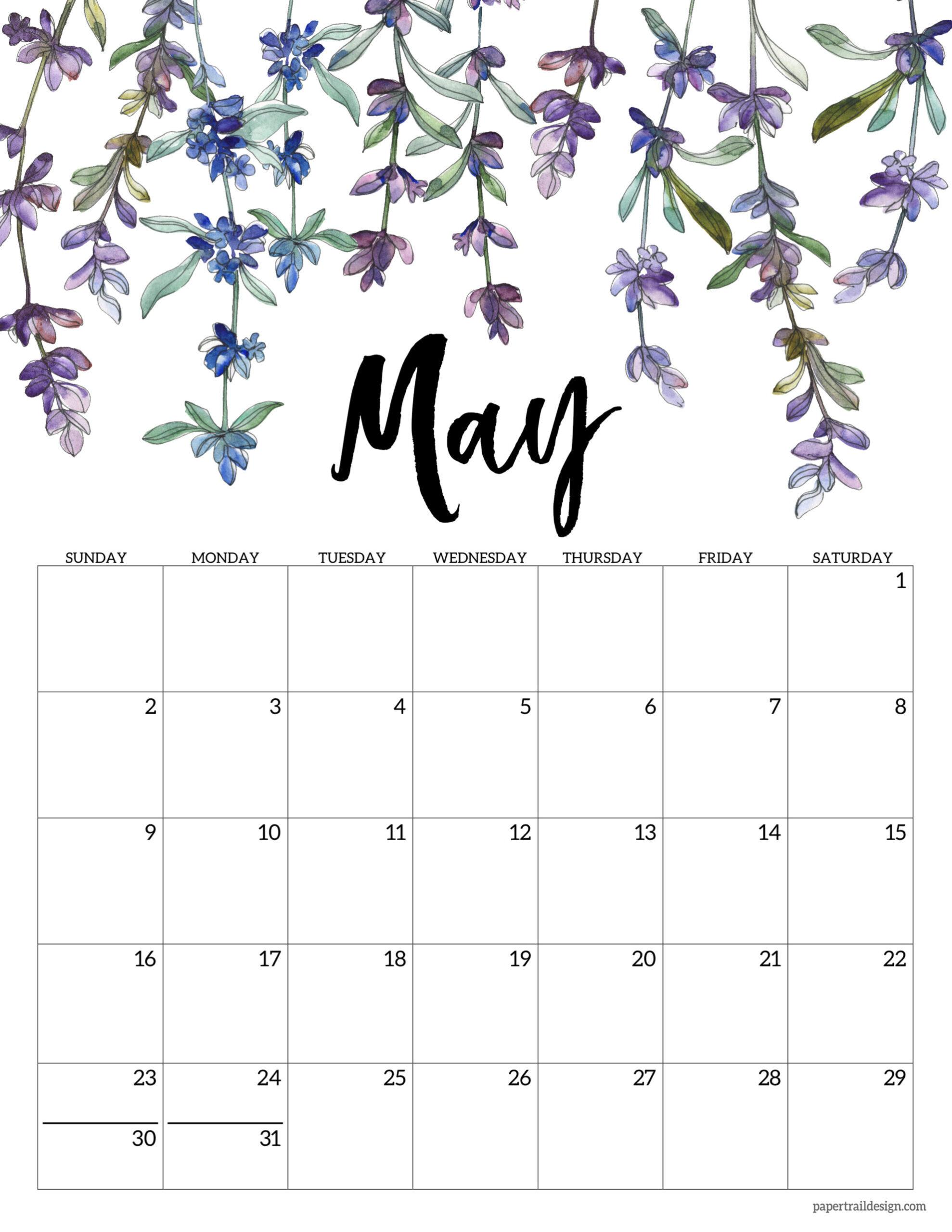 2021 Free Printable Calendar - Floral