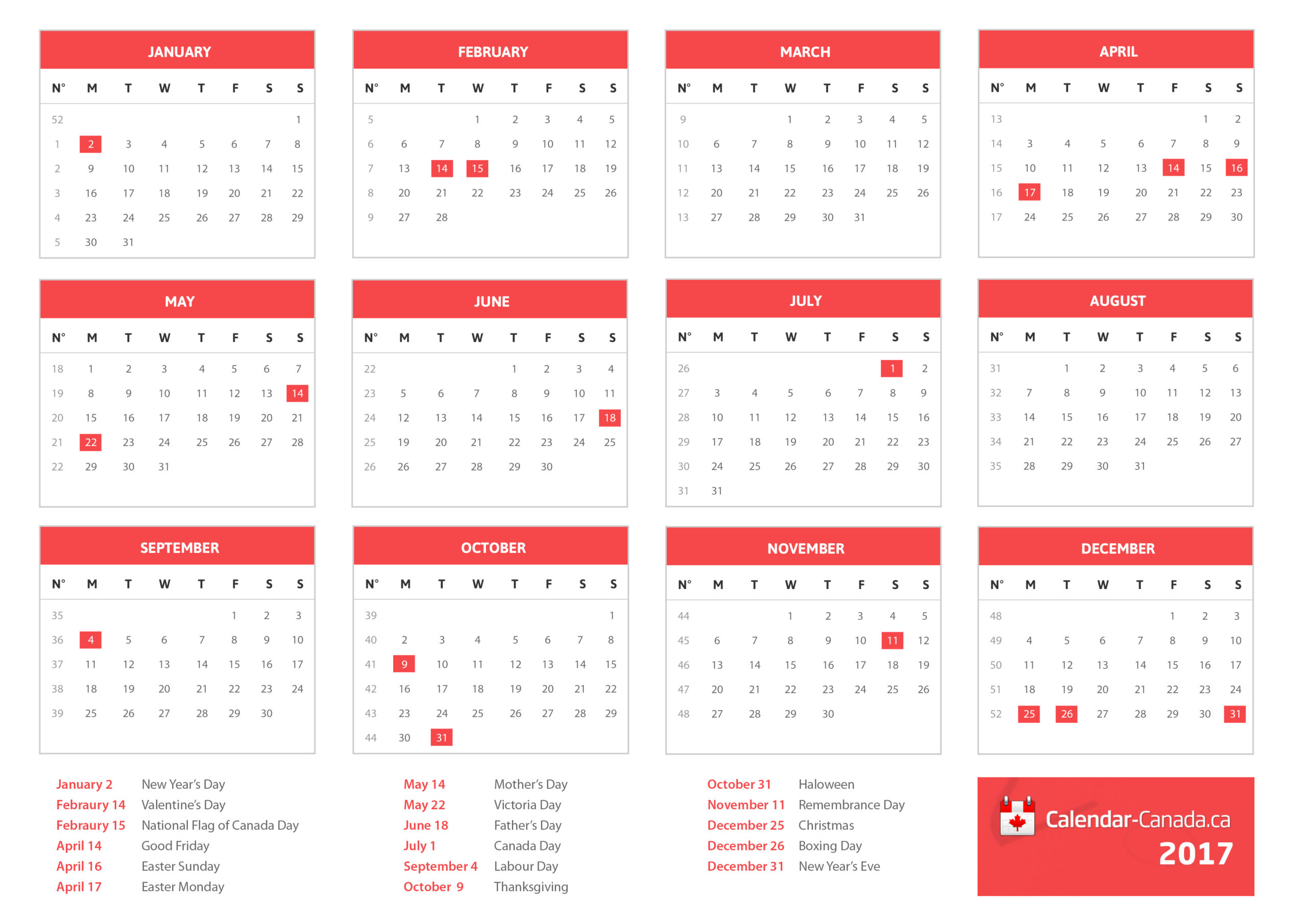 2021 Holidays Canada - Statutory, National & Local Holidays