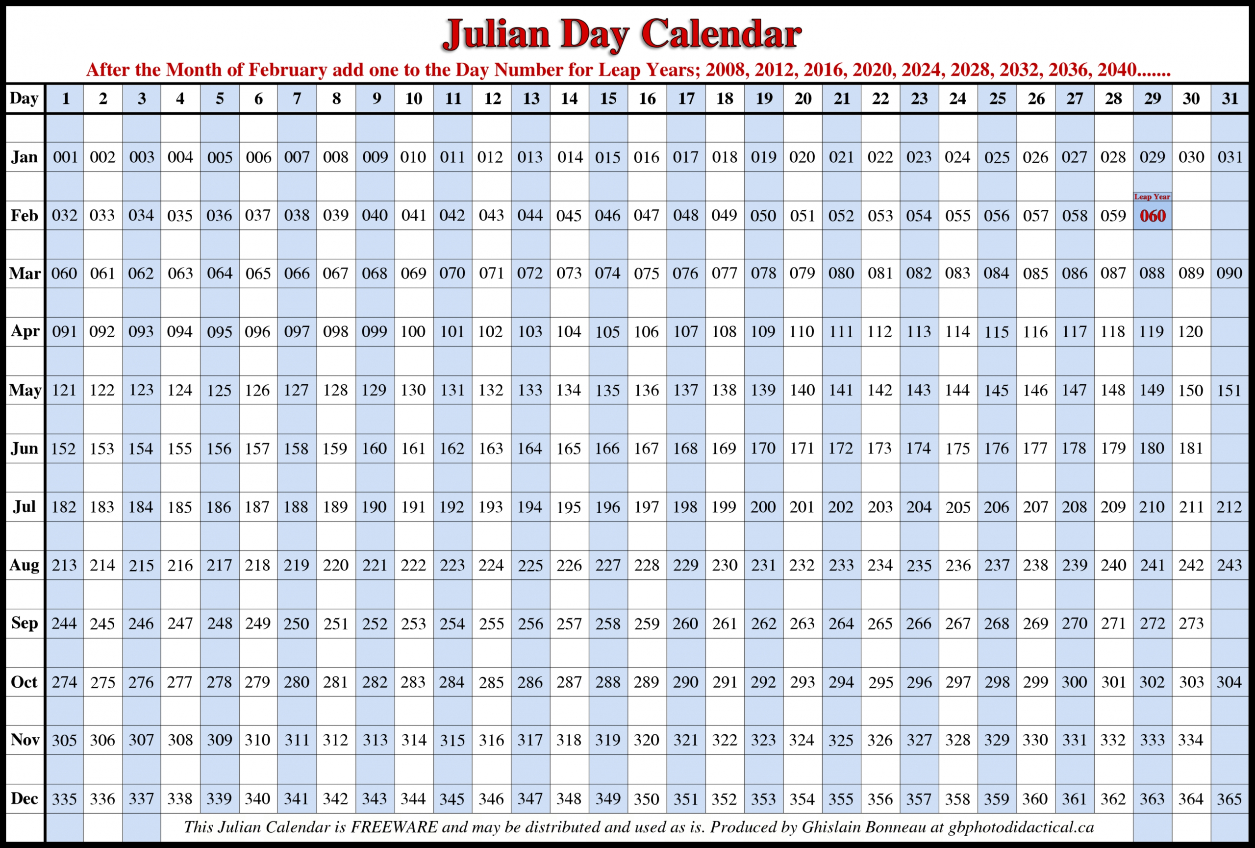 2021 Leap Year Calendar Free