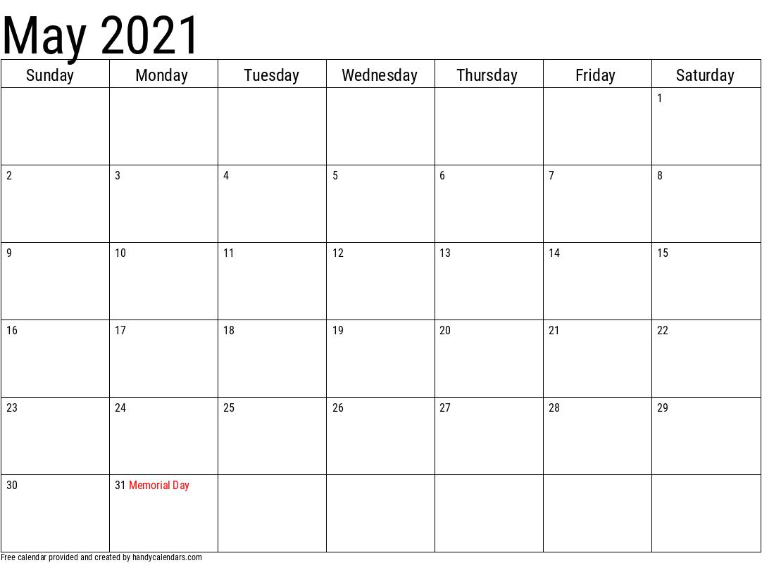 2021 May Calendars - Handy Calendars