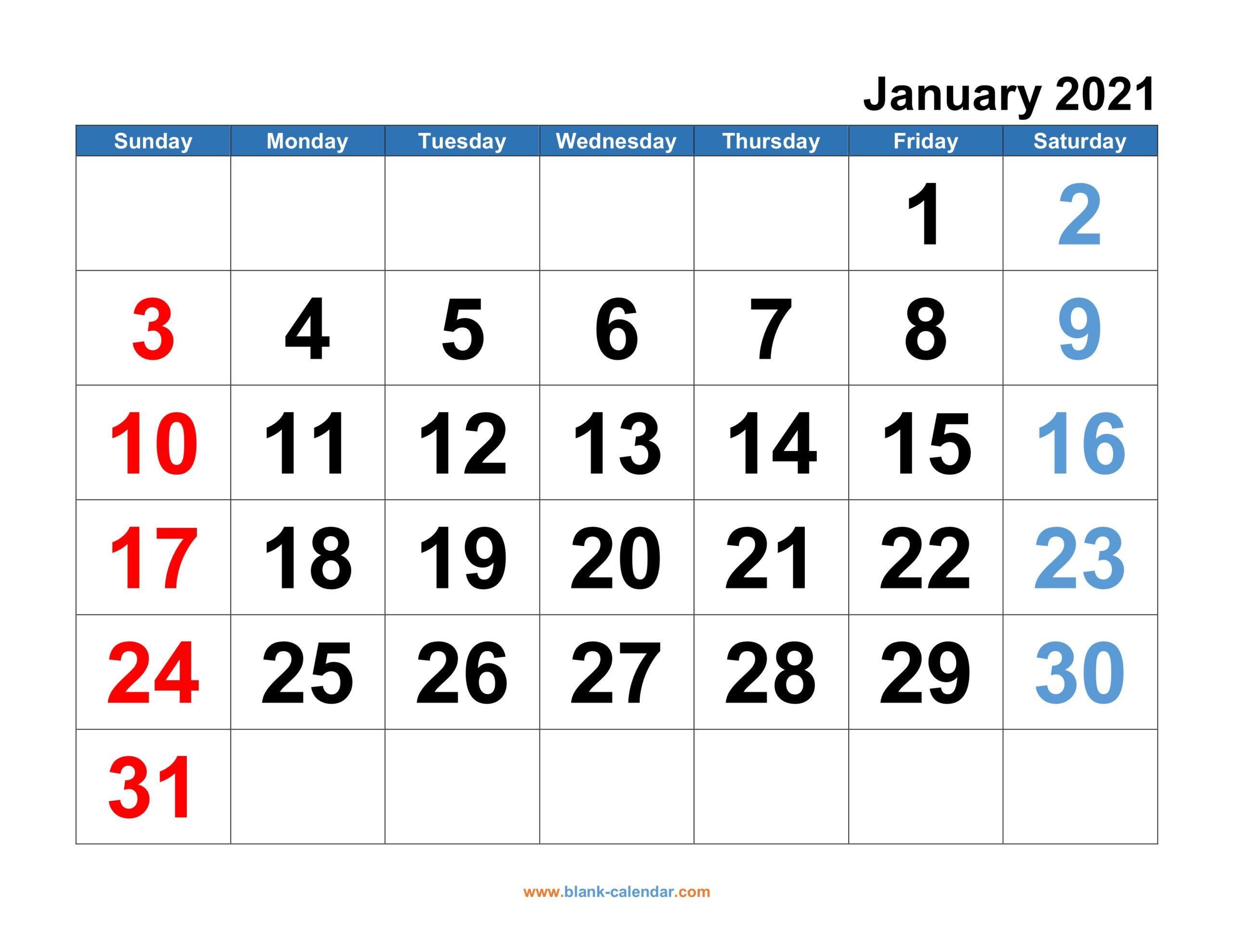 2021 Monthly Calendar Printable Free