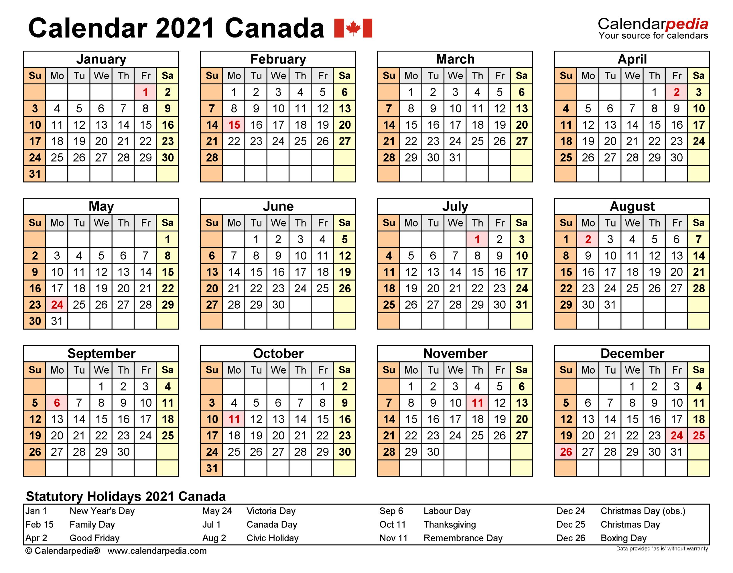 2021 Ontario Calendar Printable With Holidays