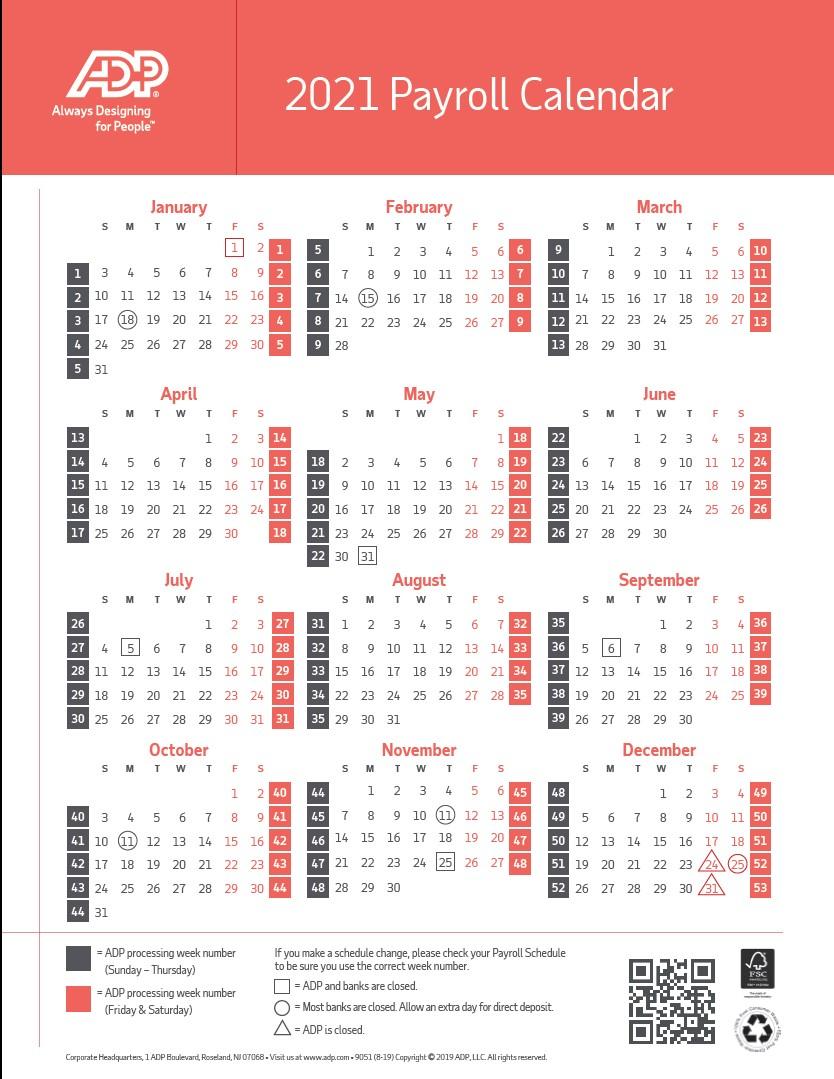2021 Payroll Calendar Federal Government
