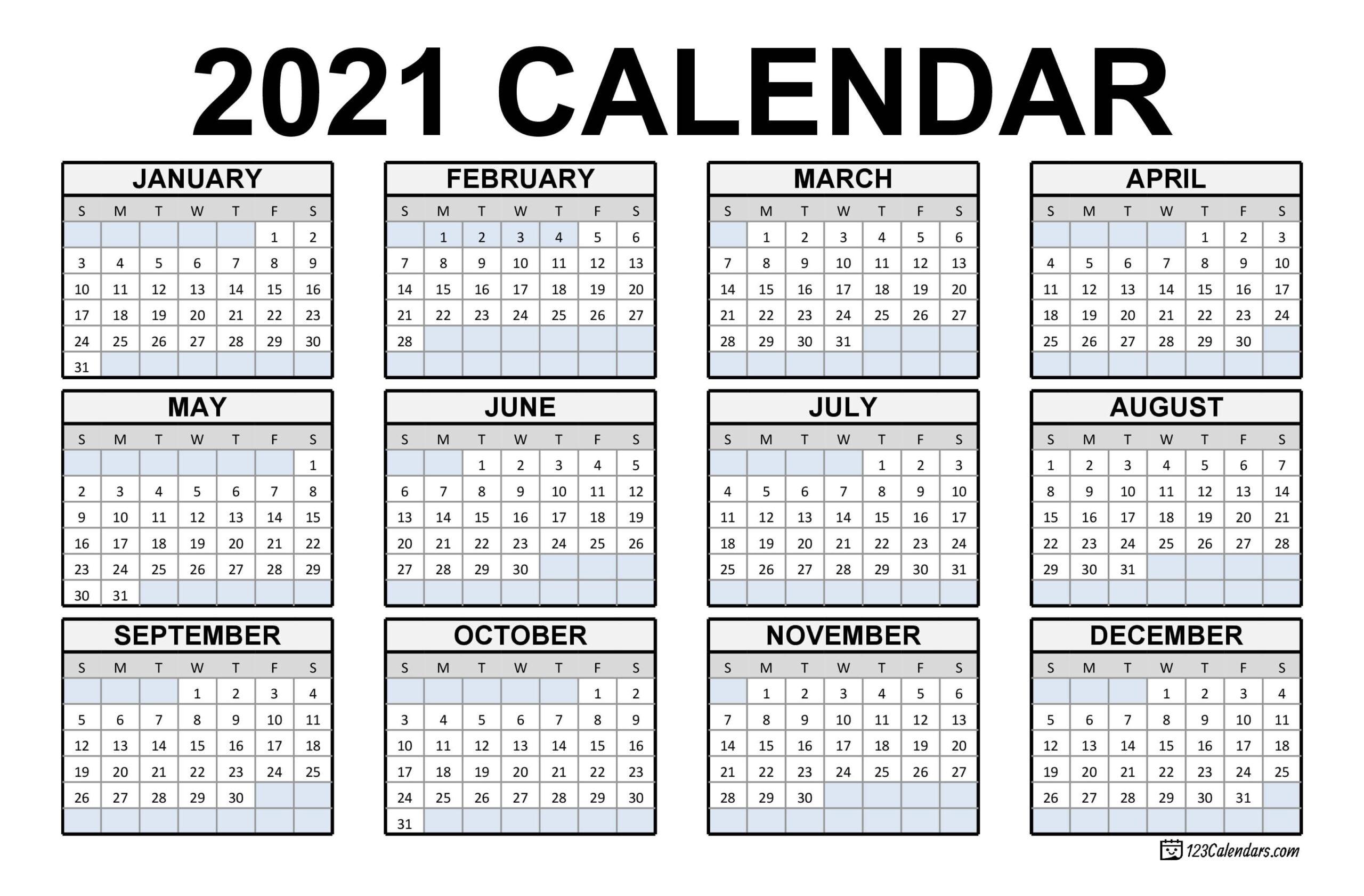 2021 Printable Calendar Free With Federal Holidays