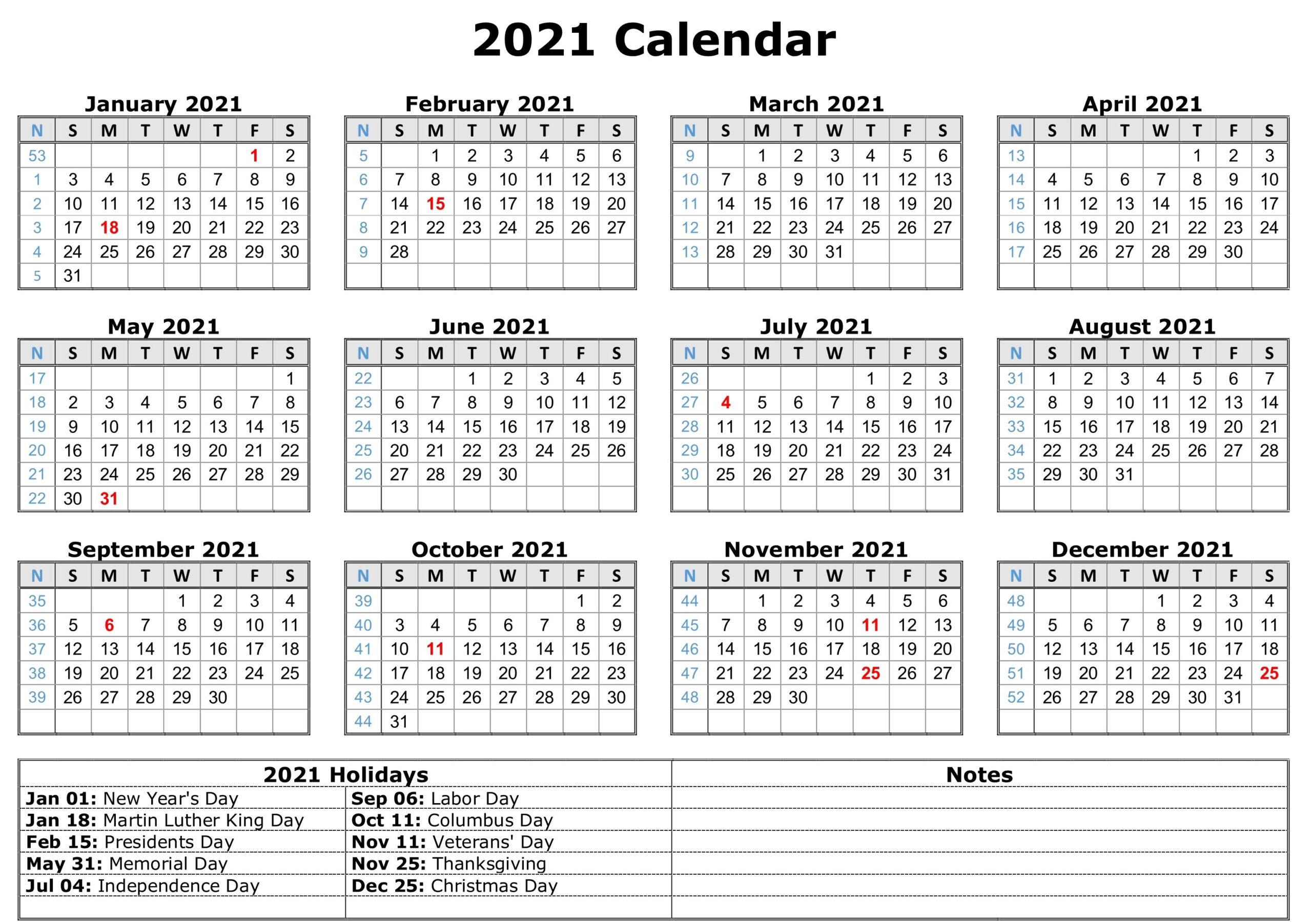 2021 Printable Calendar With Holidays