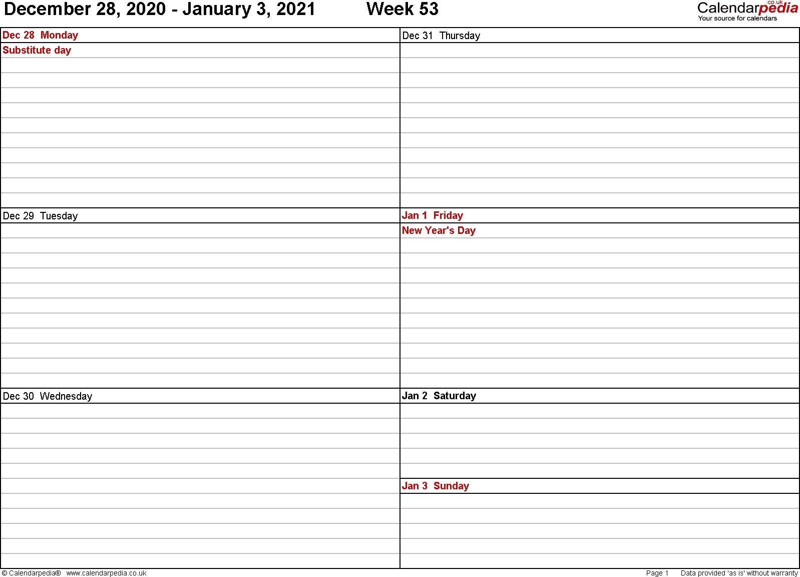 2021 Weekly Calendar Free Printable