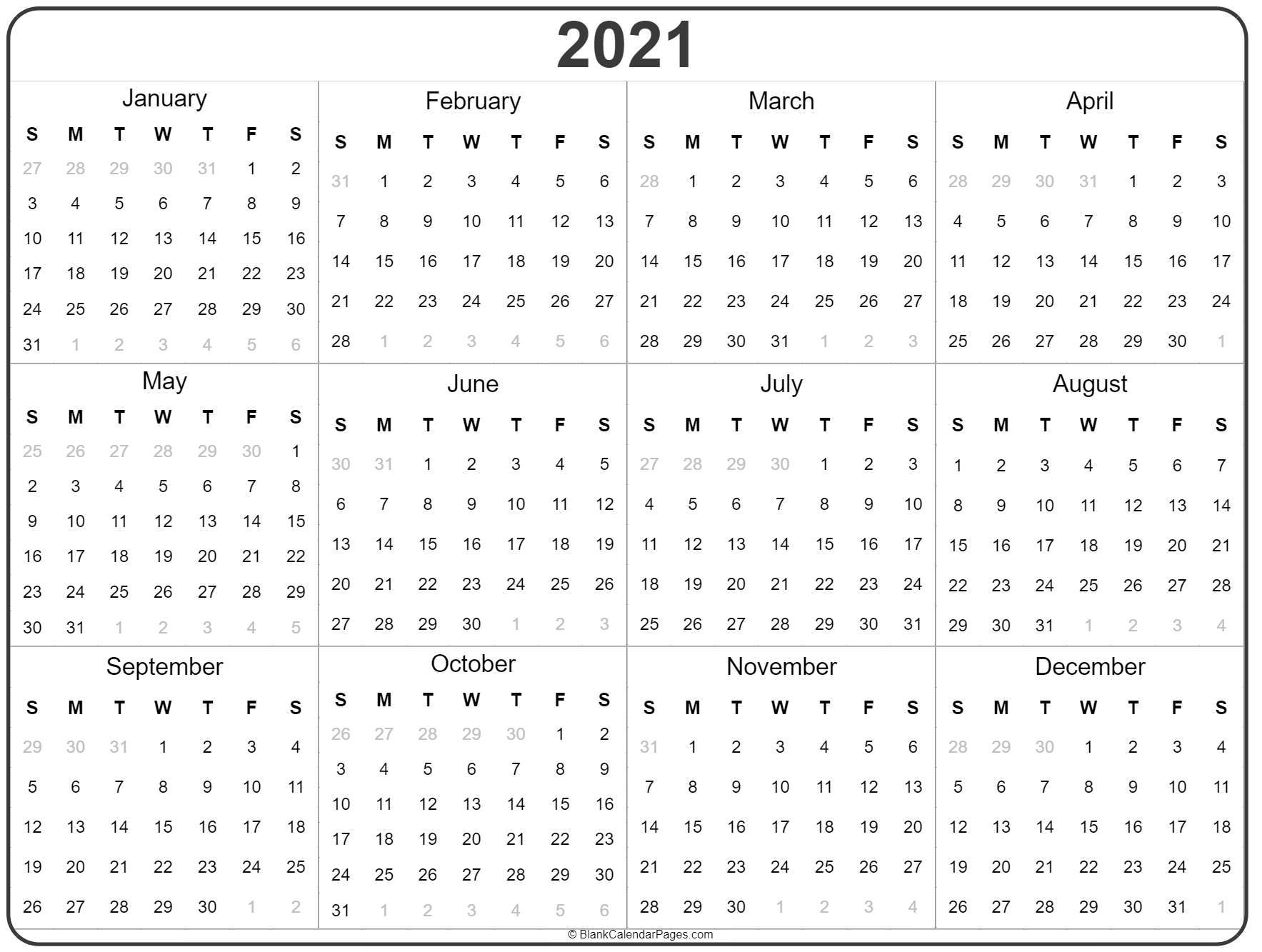 2021 Yearly Calendar Printable