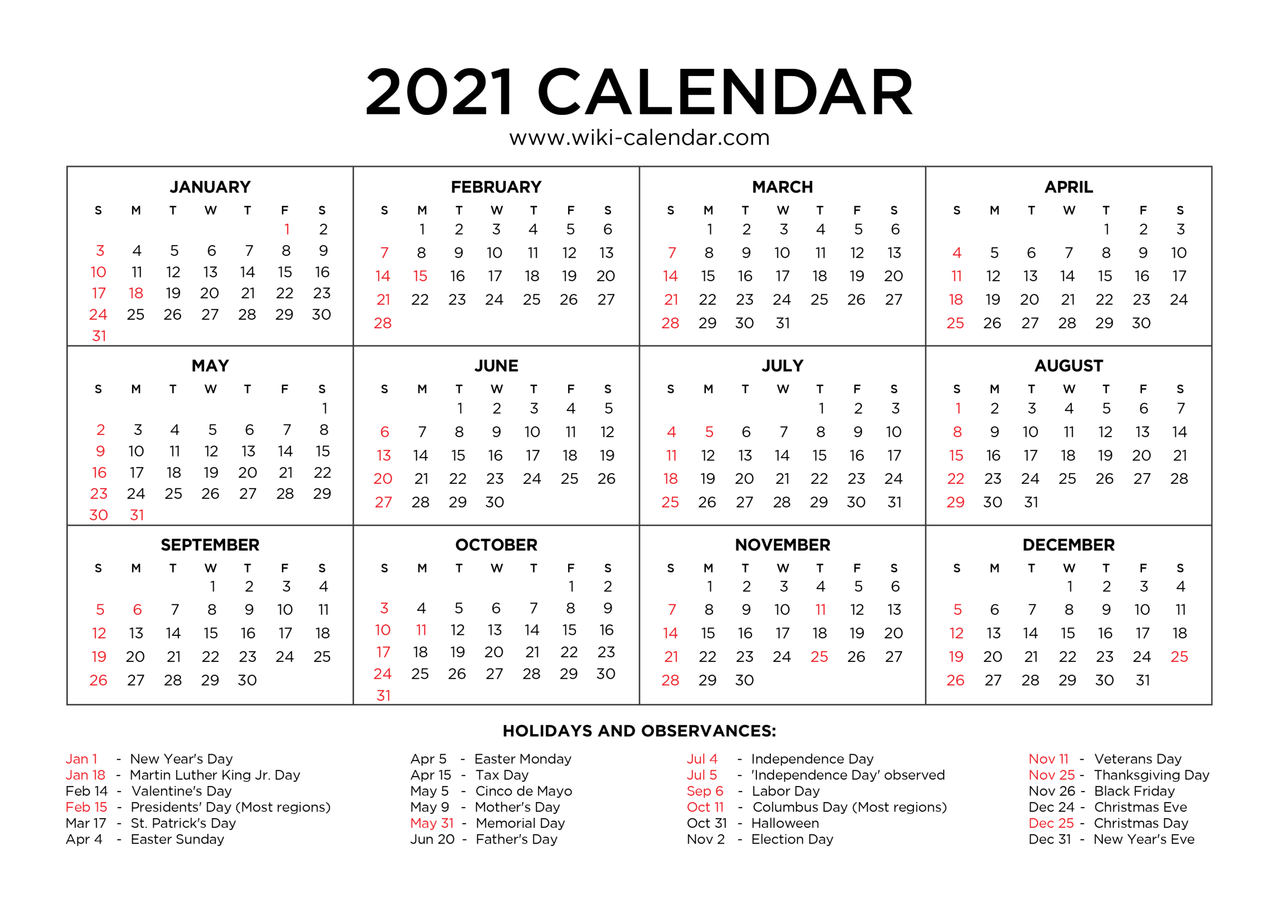 2021 Yearly Calendar With Holidays Printable