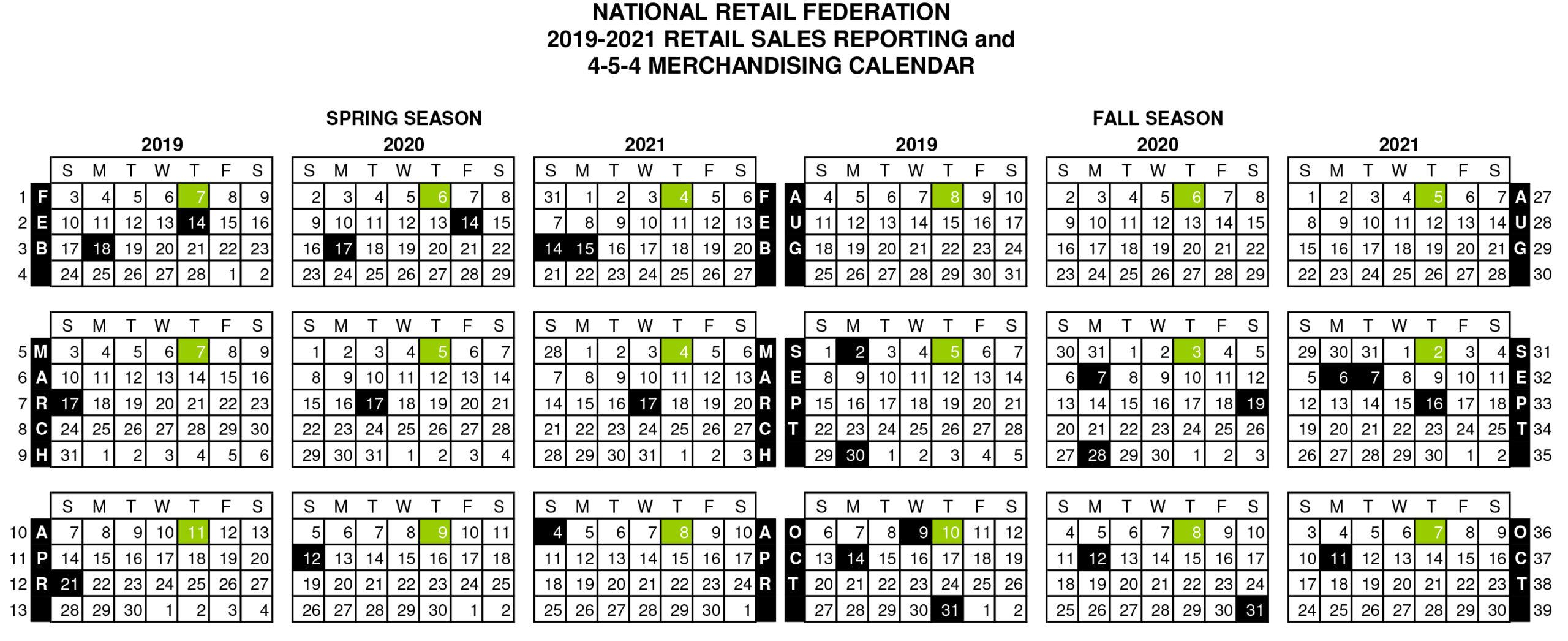4-5-4 Retail Calendar 2021