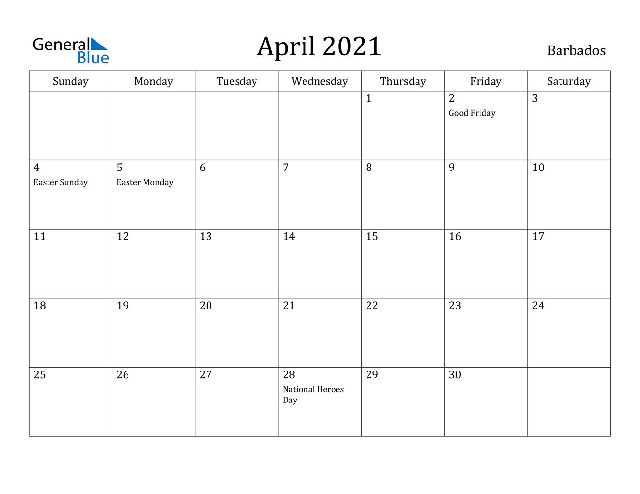 April 2021 Calendar - Barbados
