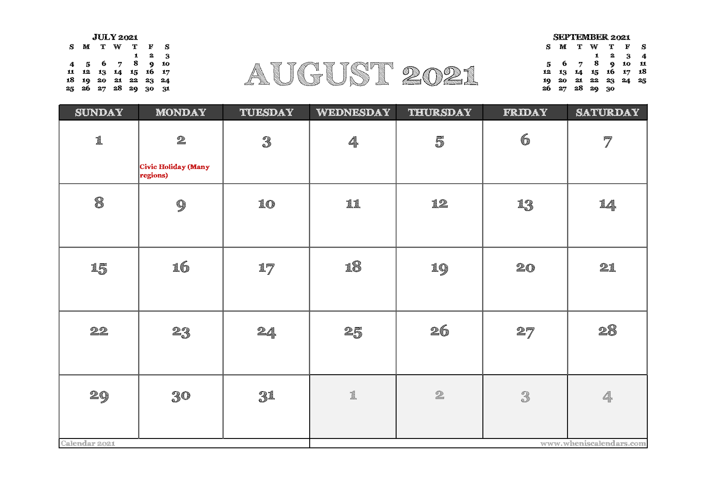 August 2021 Calendar Canada Printable 12 Templates