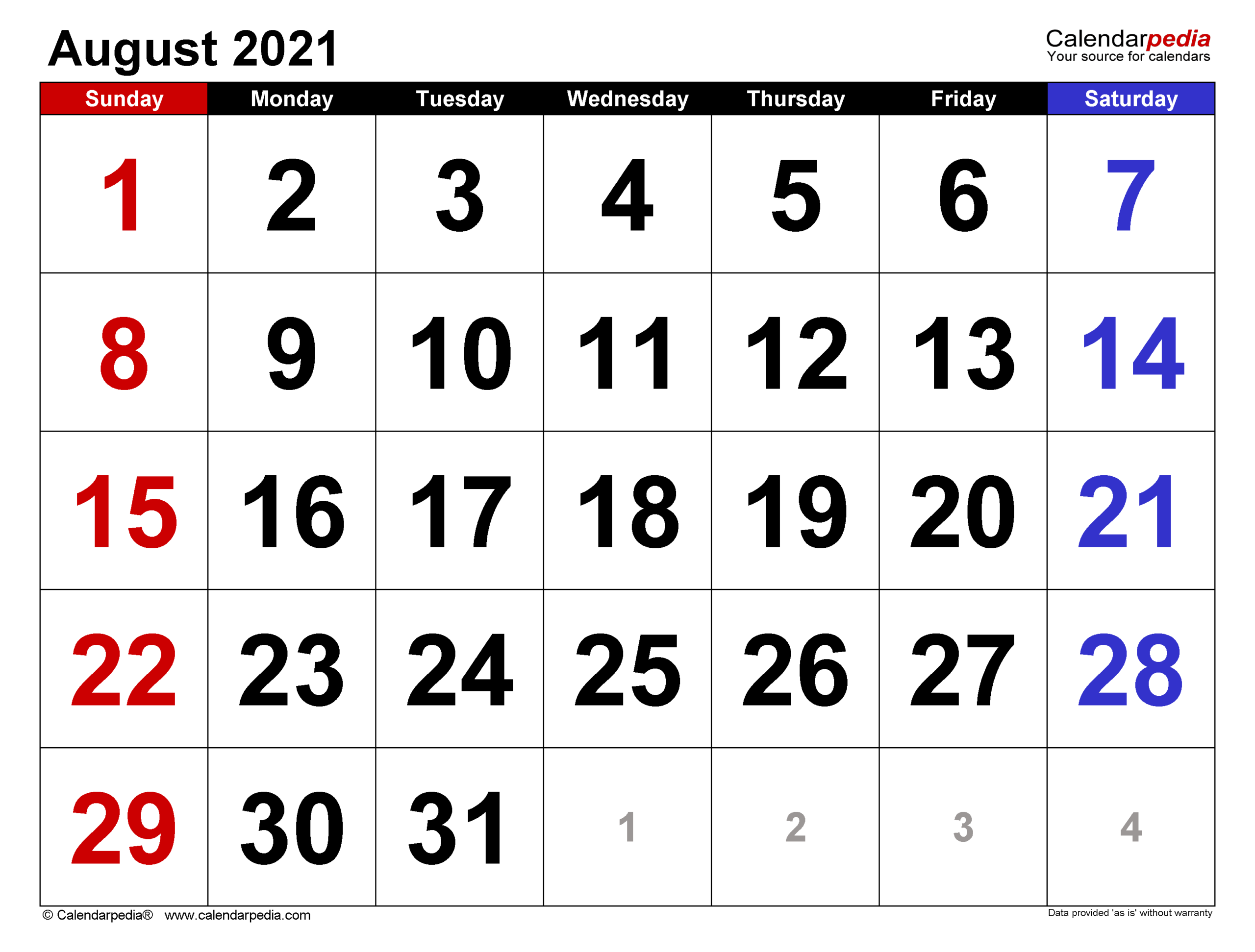 August 2021 Calendar With Holidays