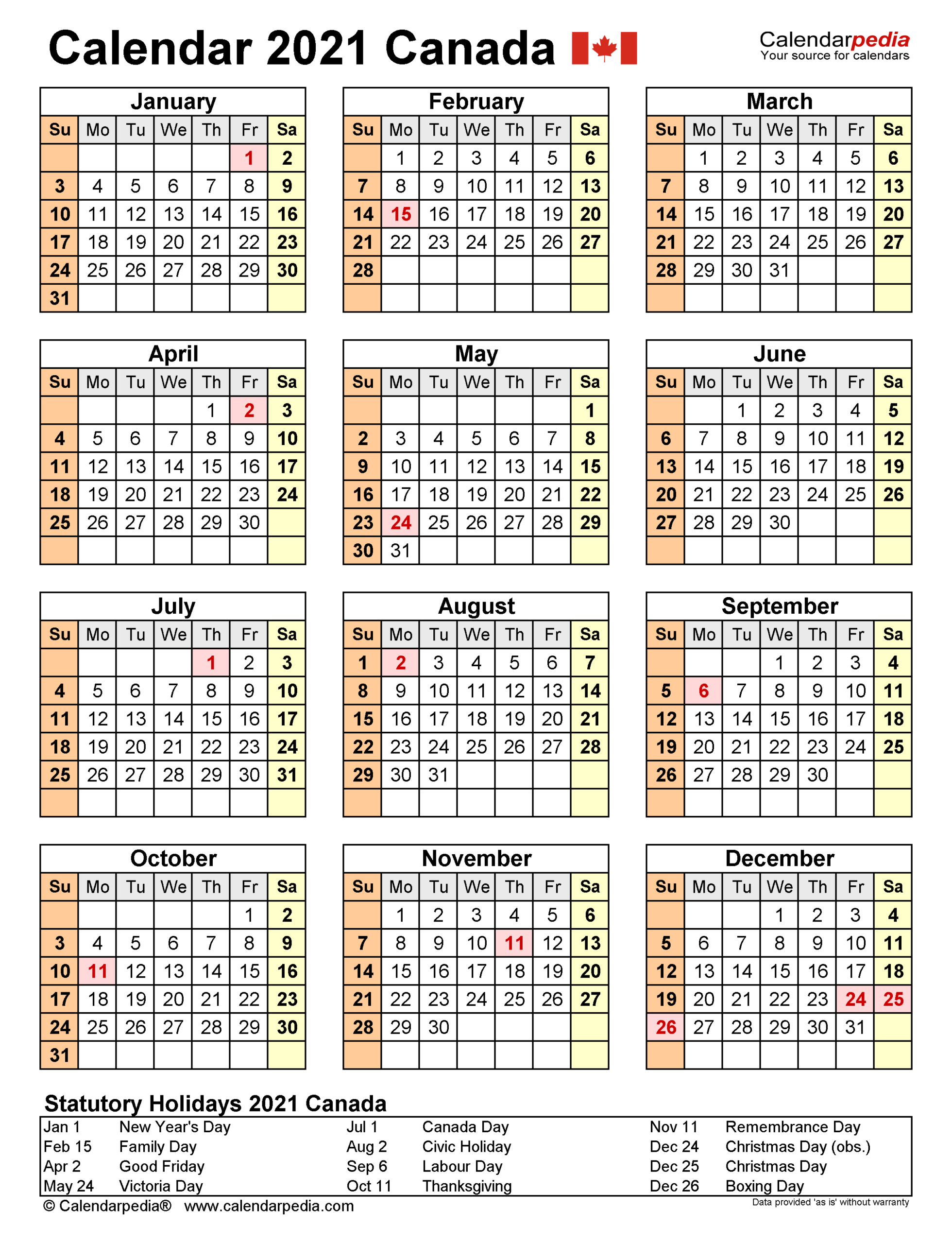 Bc Holidays 2021