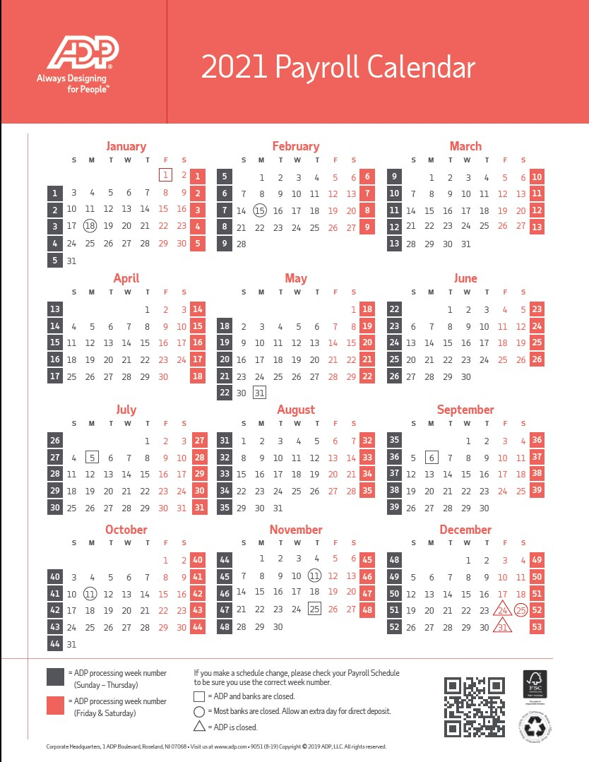 Biweekly Payroll Calendar 2021