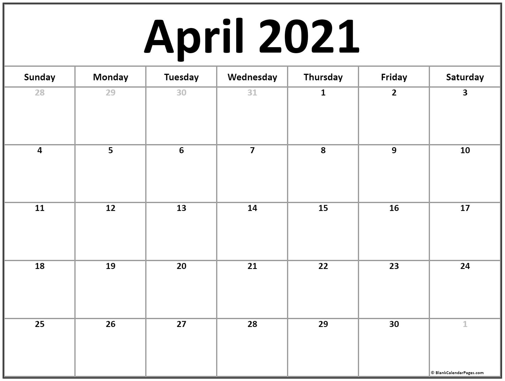 Blank April 2021 Calendar Template - Monthly Planner