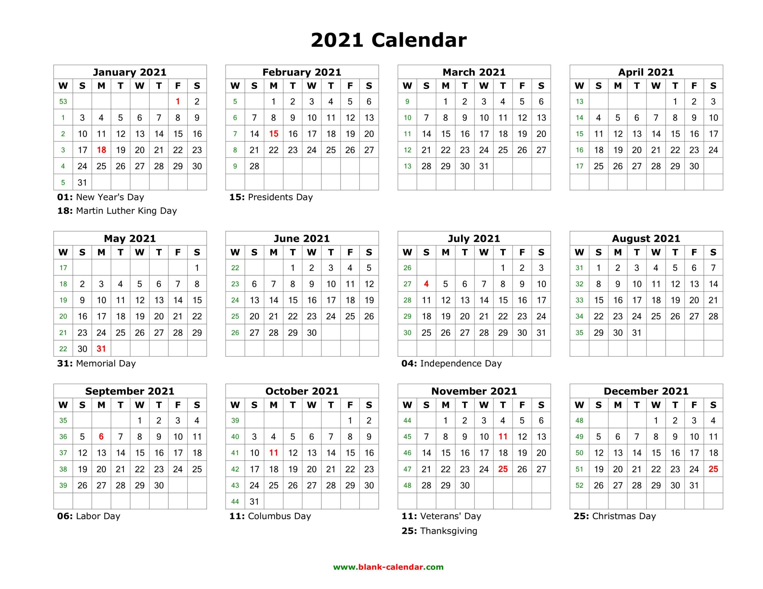 Blank Calendar 2021
