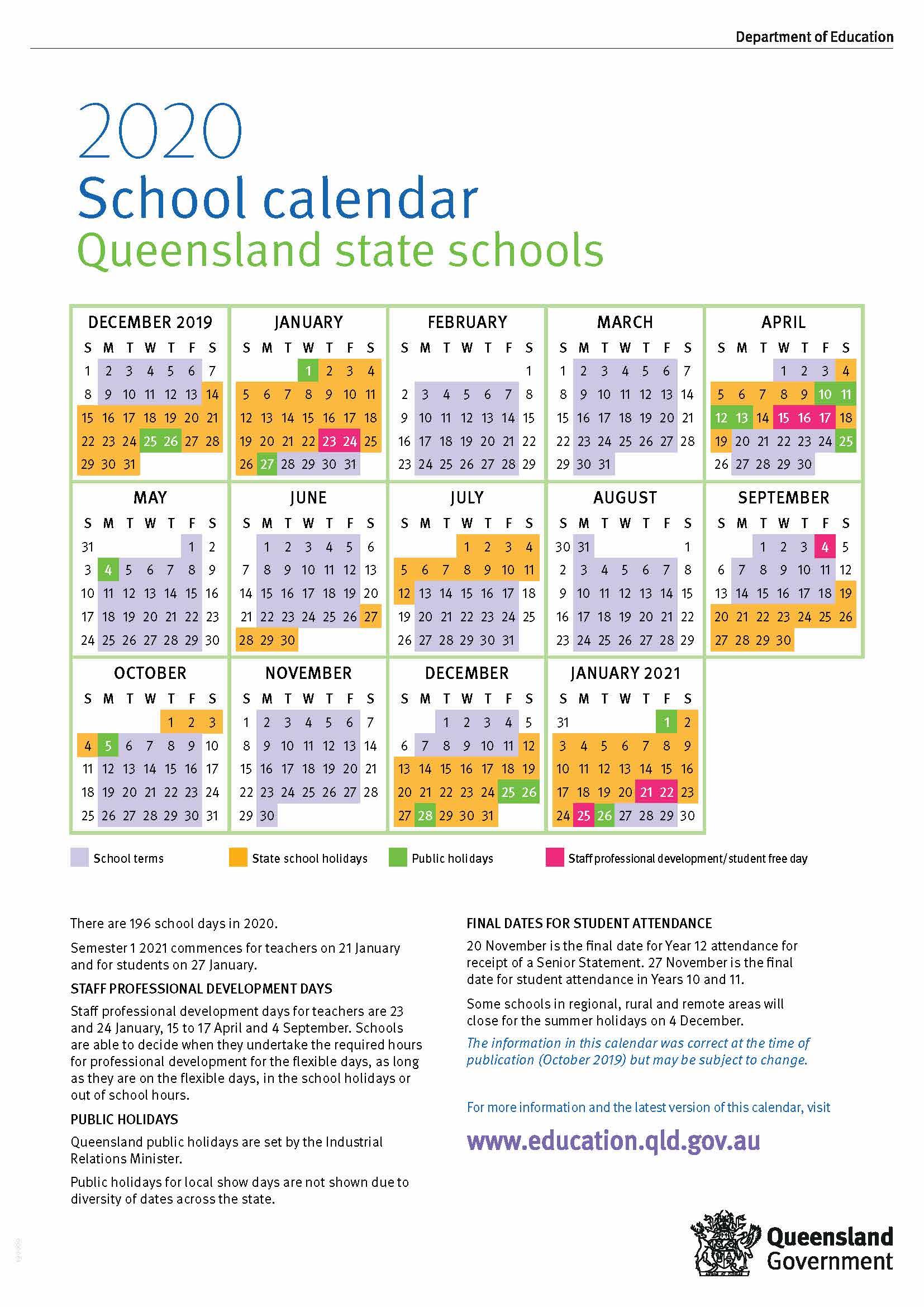Calendar 2020 Qld