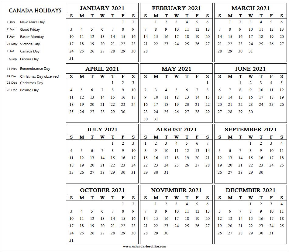 Calendar 2021 With Holidays Canada - 2021 Calendar Download
