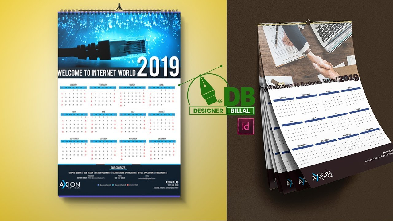 Calendar Design In Adobe Indesign Cc 2019 - Youtube