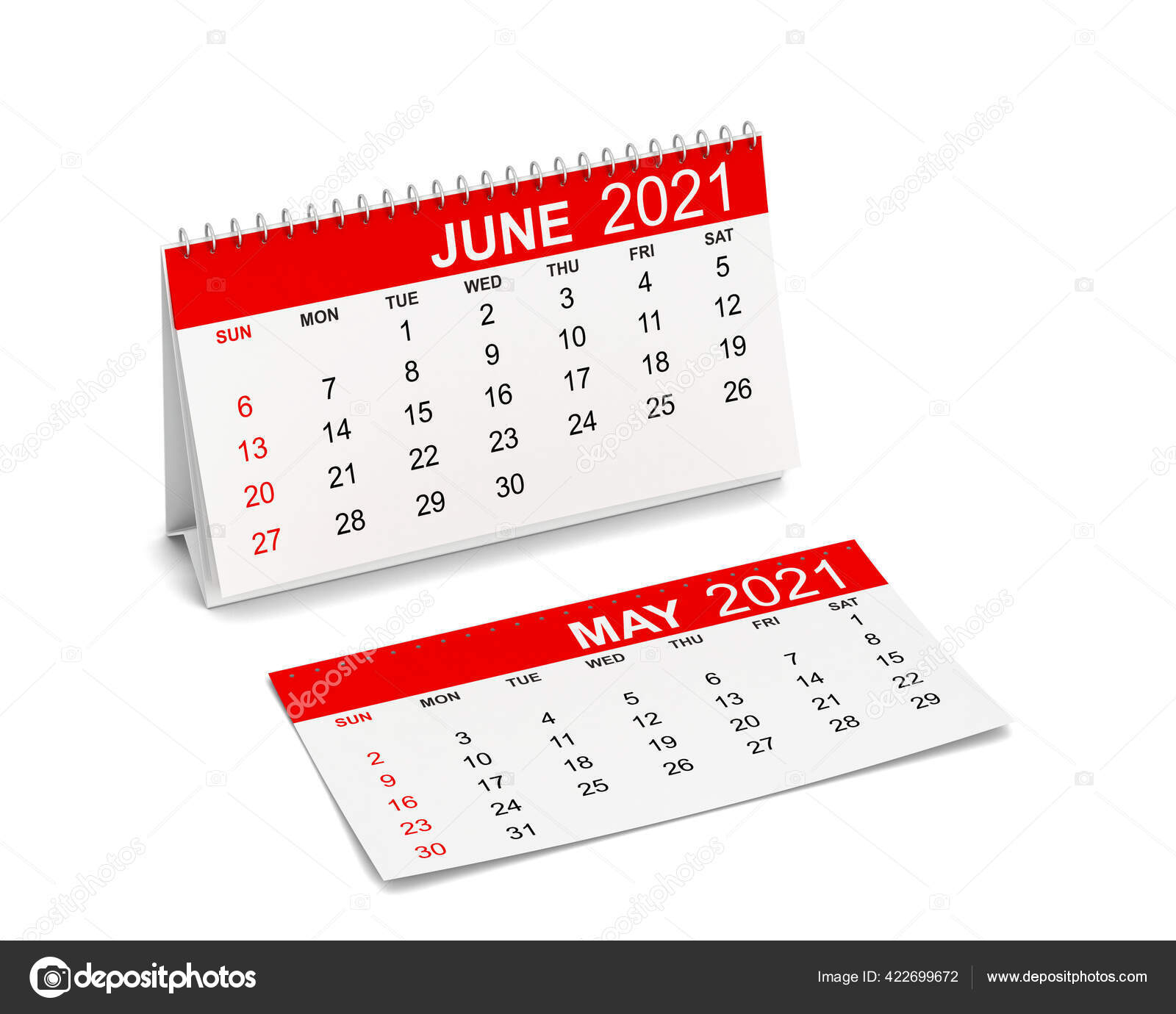 Calendar For Year 2021. Week Starts With Sunday. 3D Illustration Isolated  On White Background 422699672