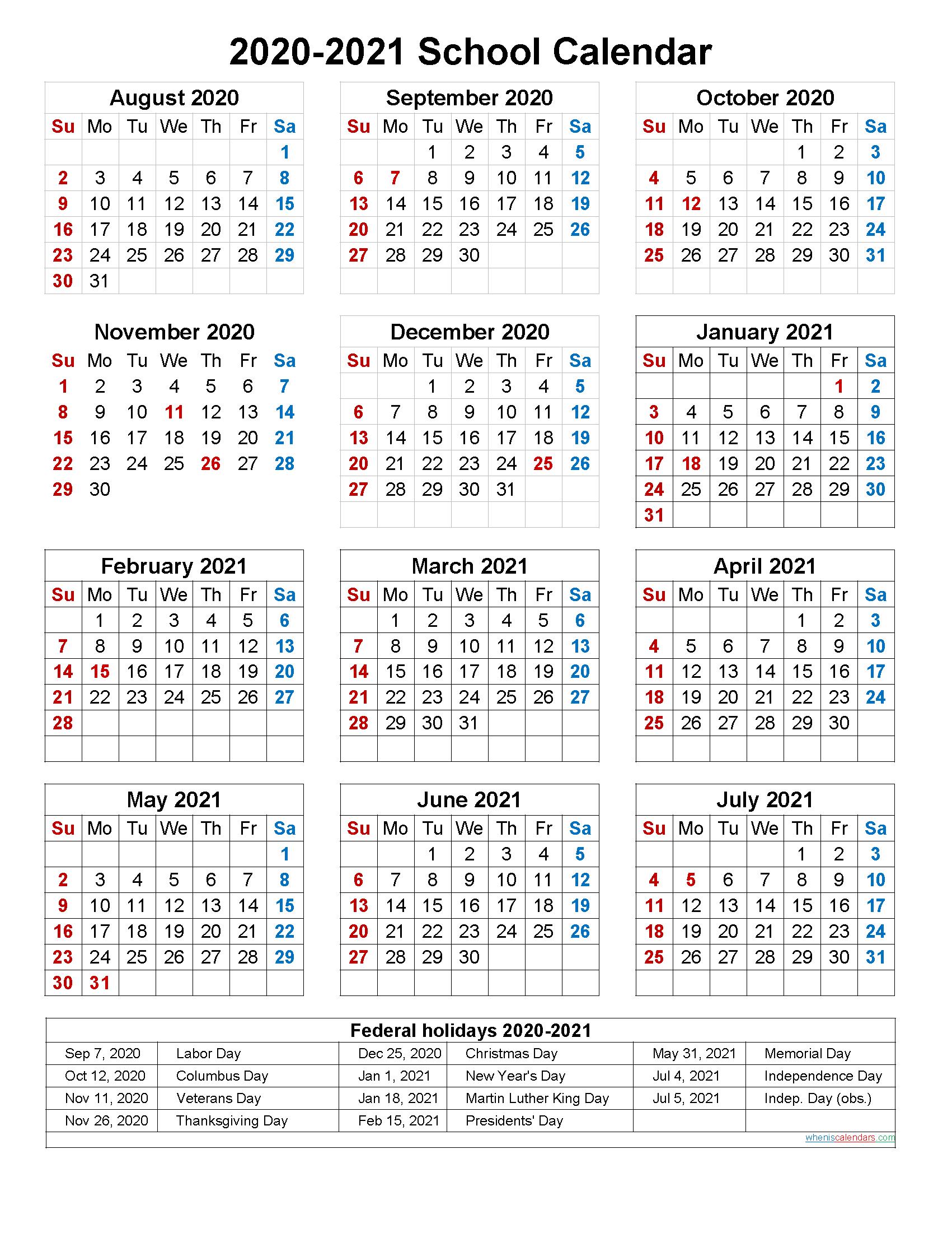 Calendar With School Holidays 2021