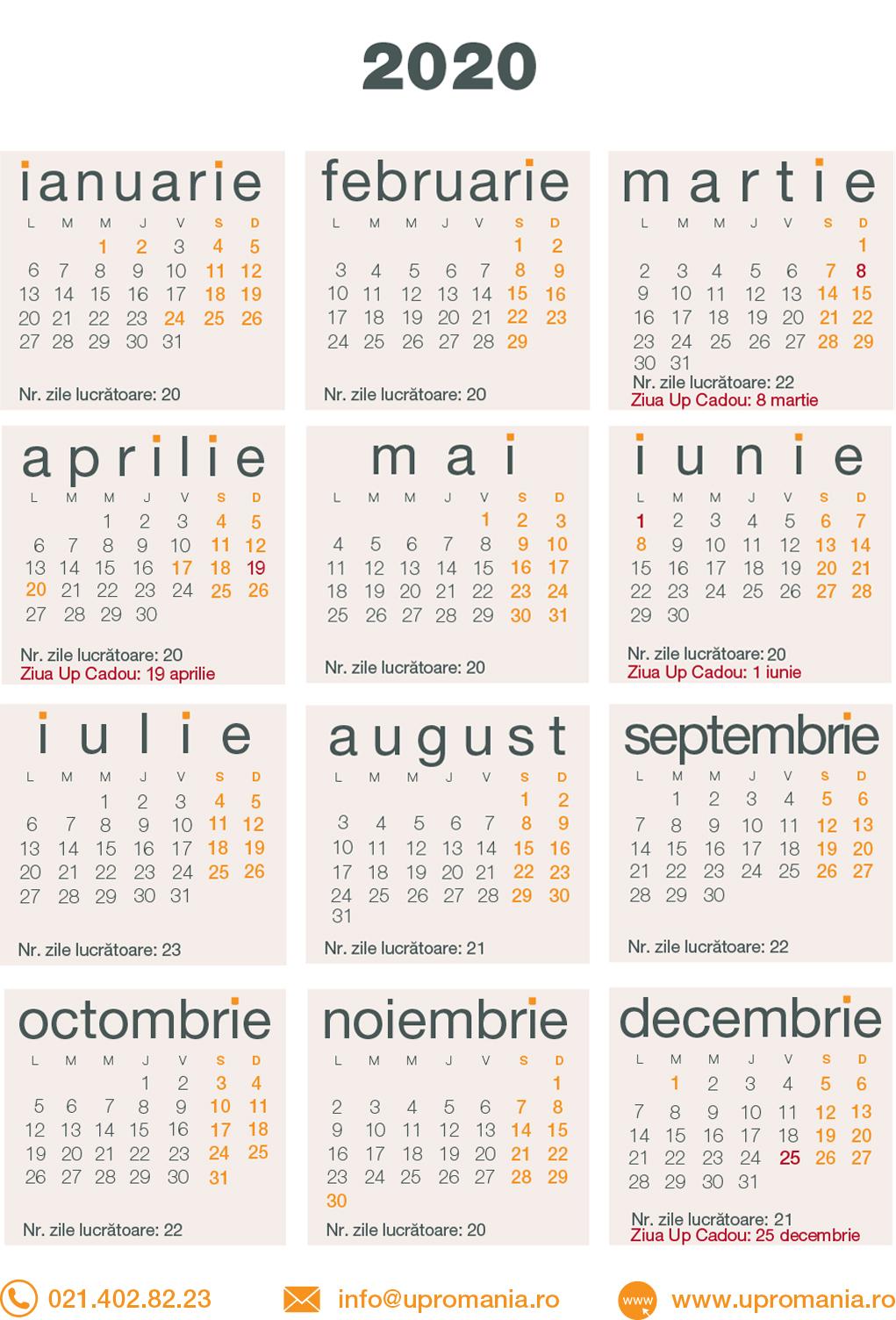 Calendar Zile Lucratoare 2020
