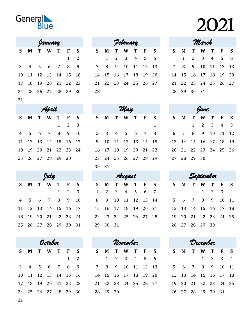 Calendario 2021 2021 Excel
