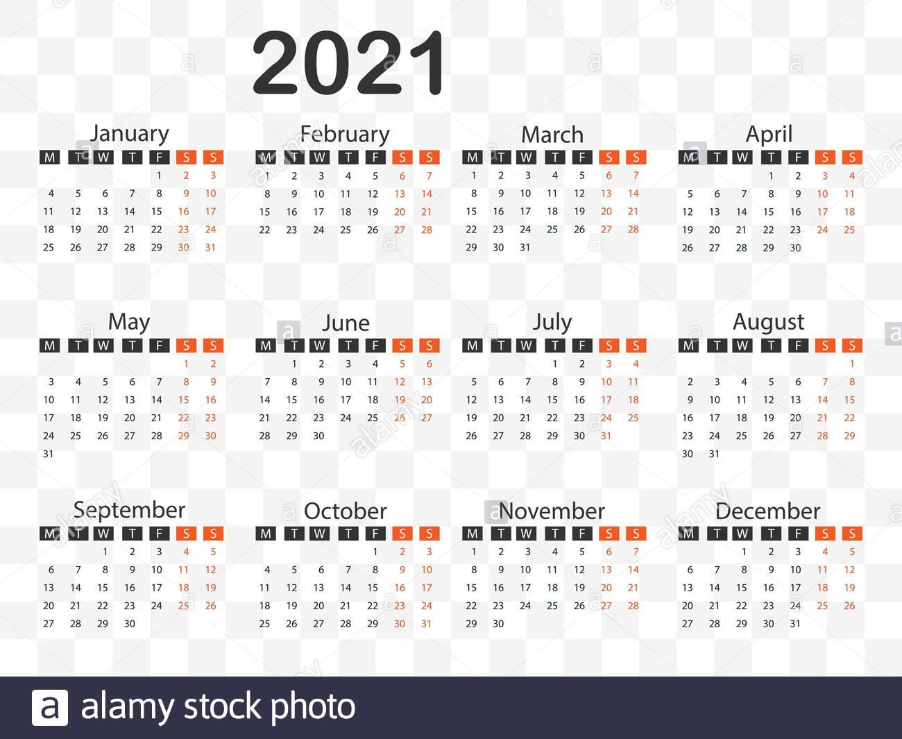 Calendario 2021, La Semana Comienza El Lunes. Ilustración