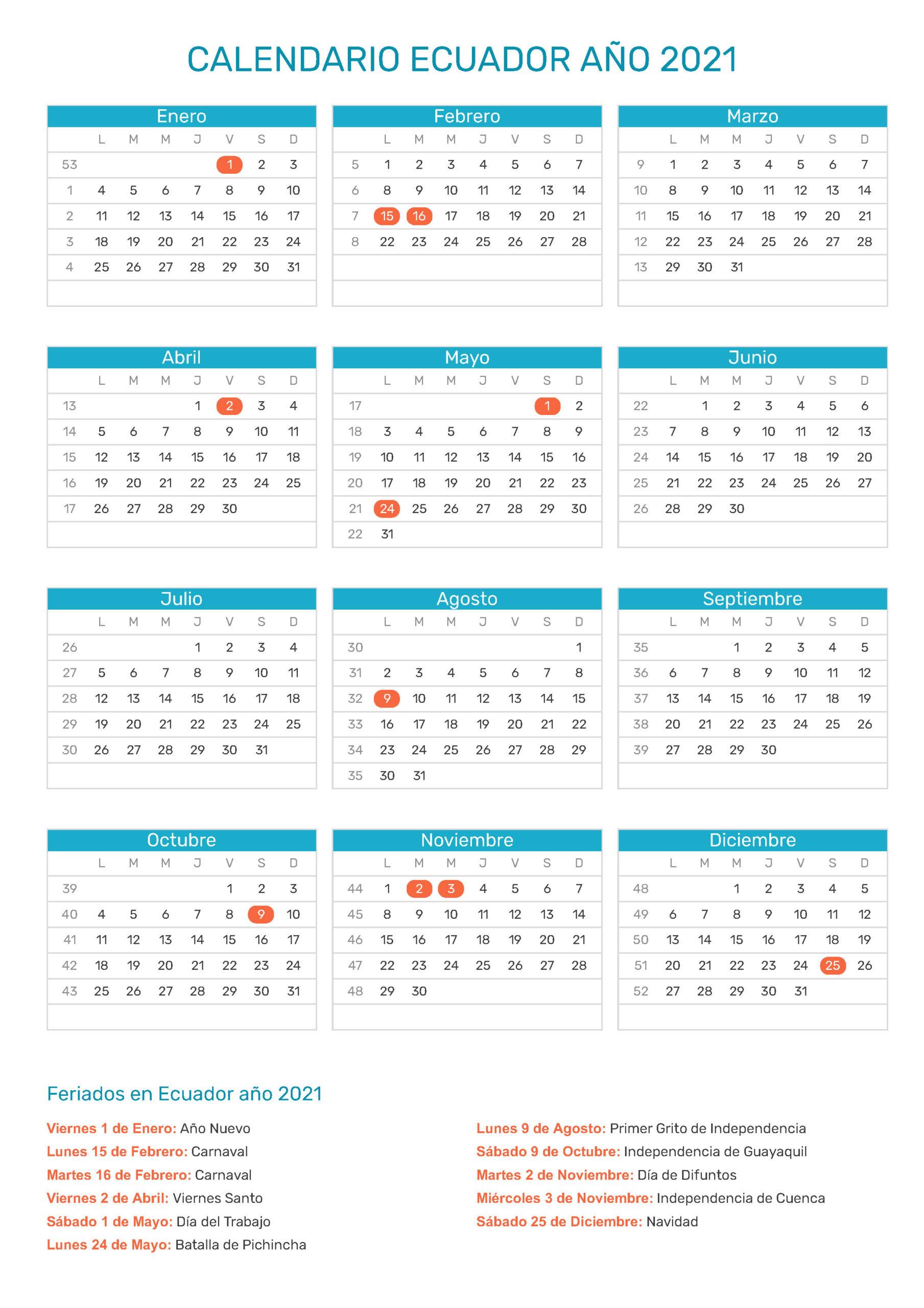 Calendario De Ecuador Año 2021