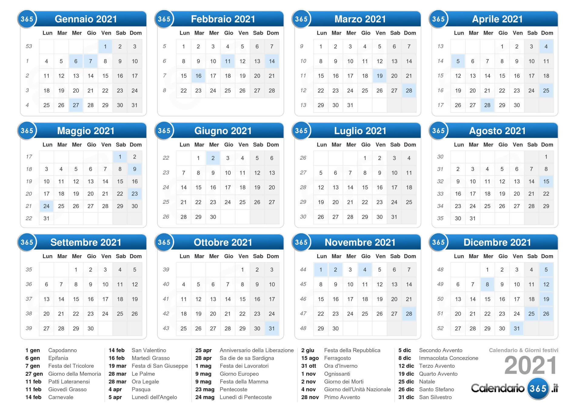 Calendario Giuliano 2021