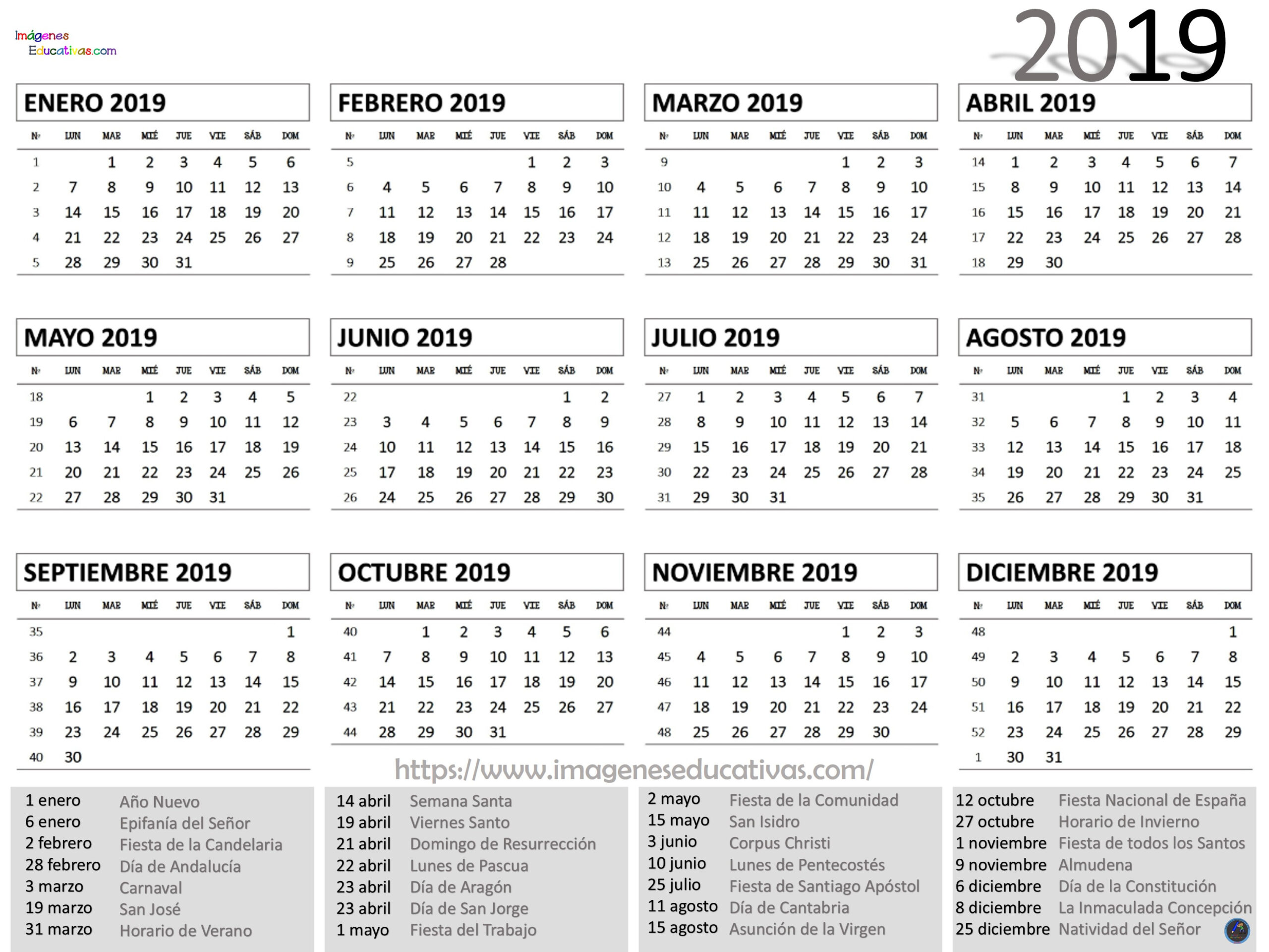 Calendario Juliano 2020 Para Imprimir - Calendario 2019