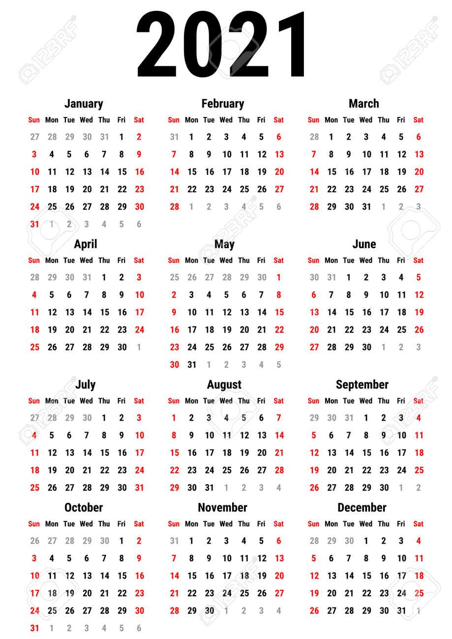 Calendario Para 2021 Años En El Fondo Blanco. La Semana Comienza El  Domingo. Plantilla Simple Del Vector Plantilla De Diseño De Papelería