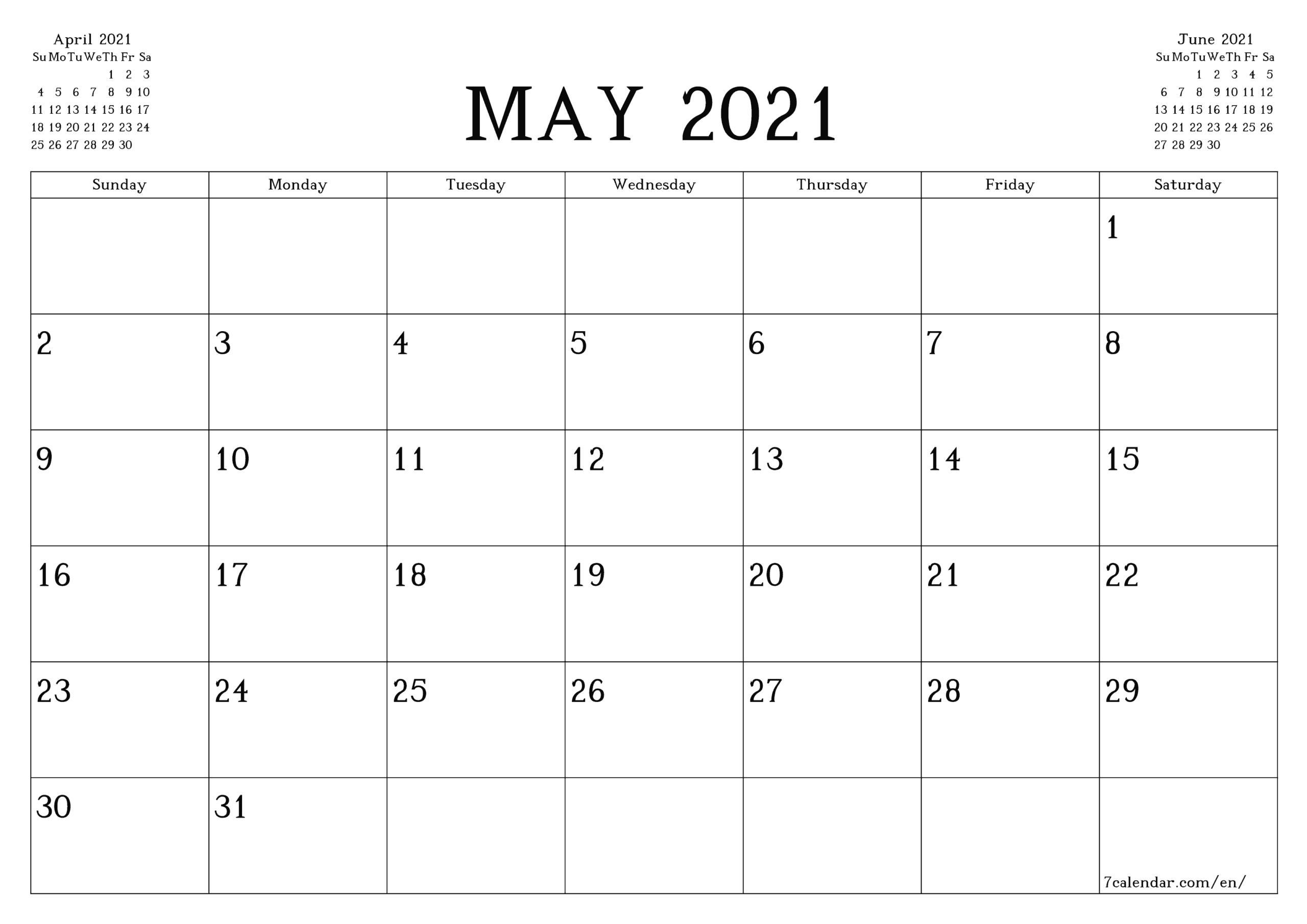 Calendars 2021 May