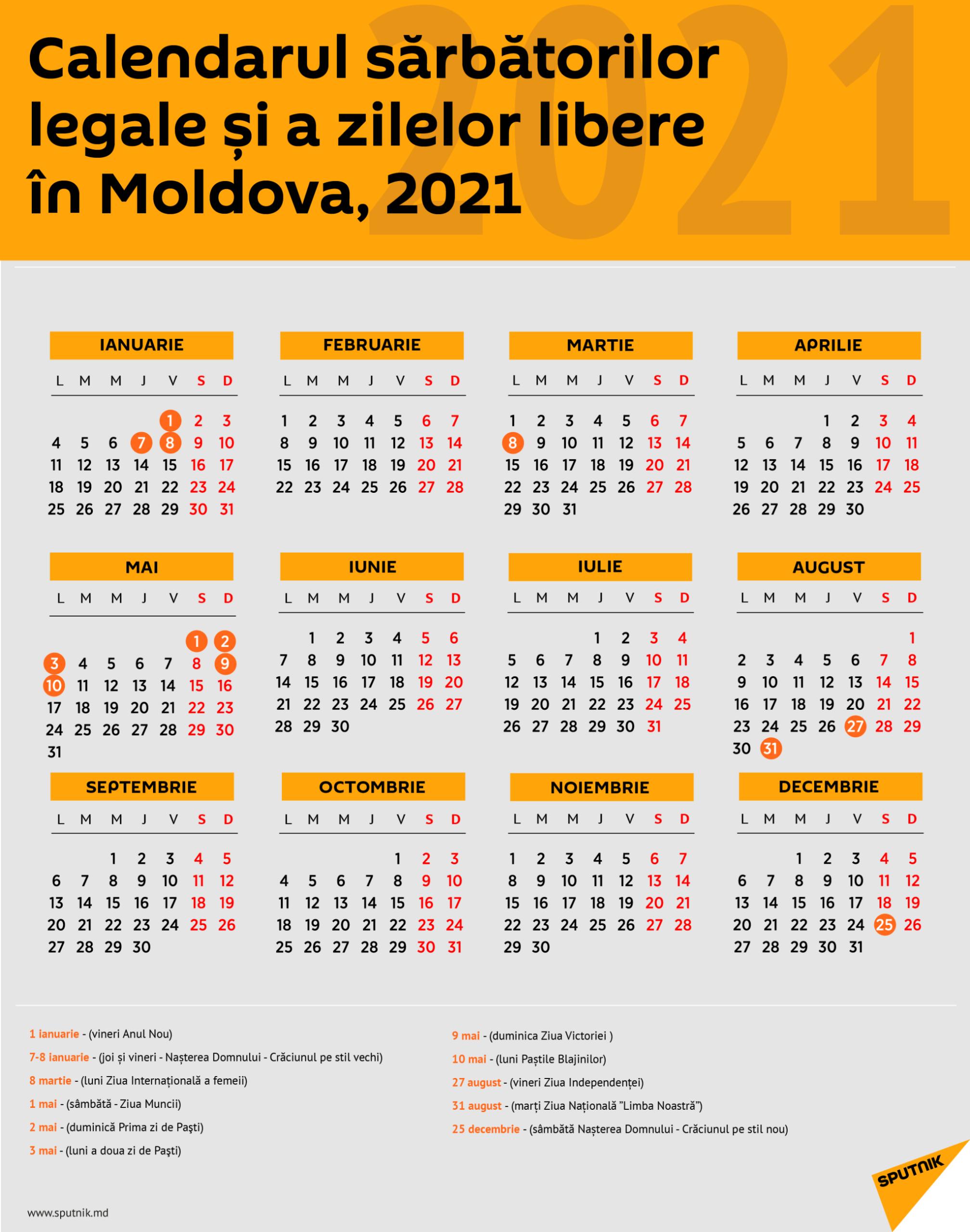 Calendarul Zilelor De Odihnă În Moldova Pentru Anul 2021