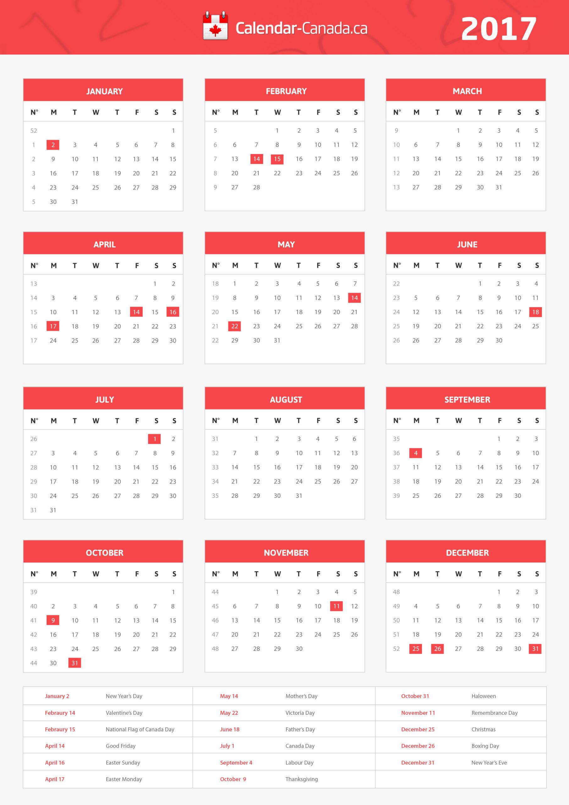 Canada 2021 Holiday Calender