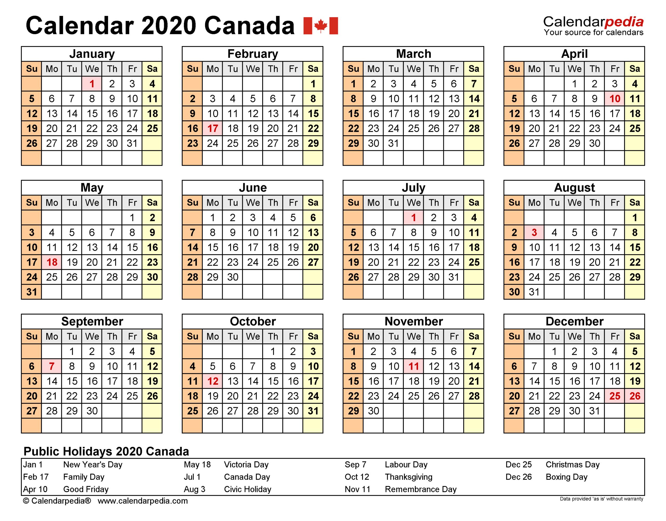 Canada Calendar 2020 - Free Printable Excel Templates
