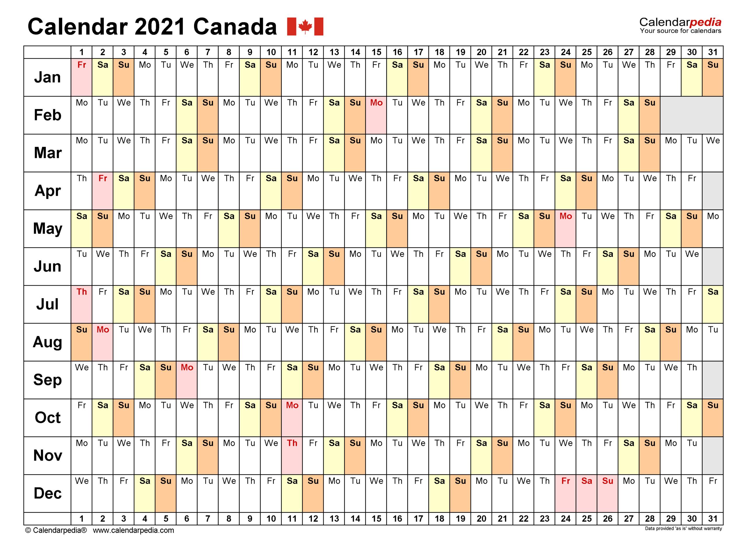 Canada Calendar 2021 - Free Printable Excel Templates