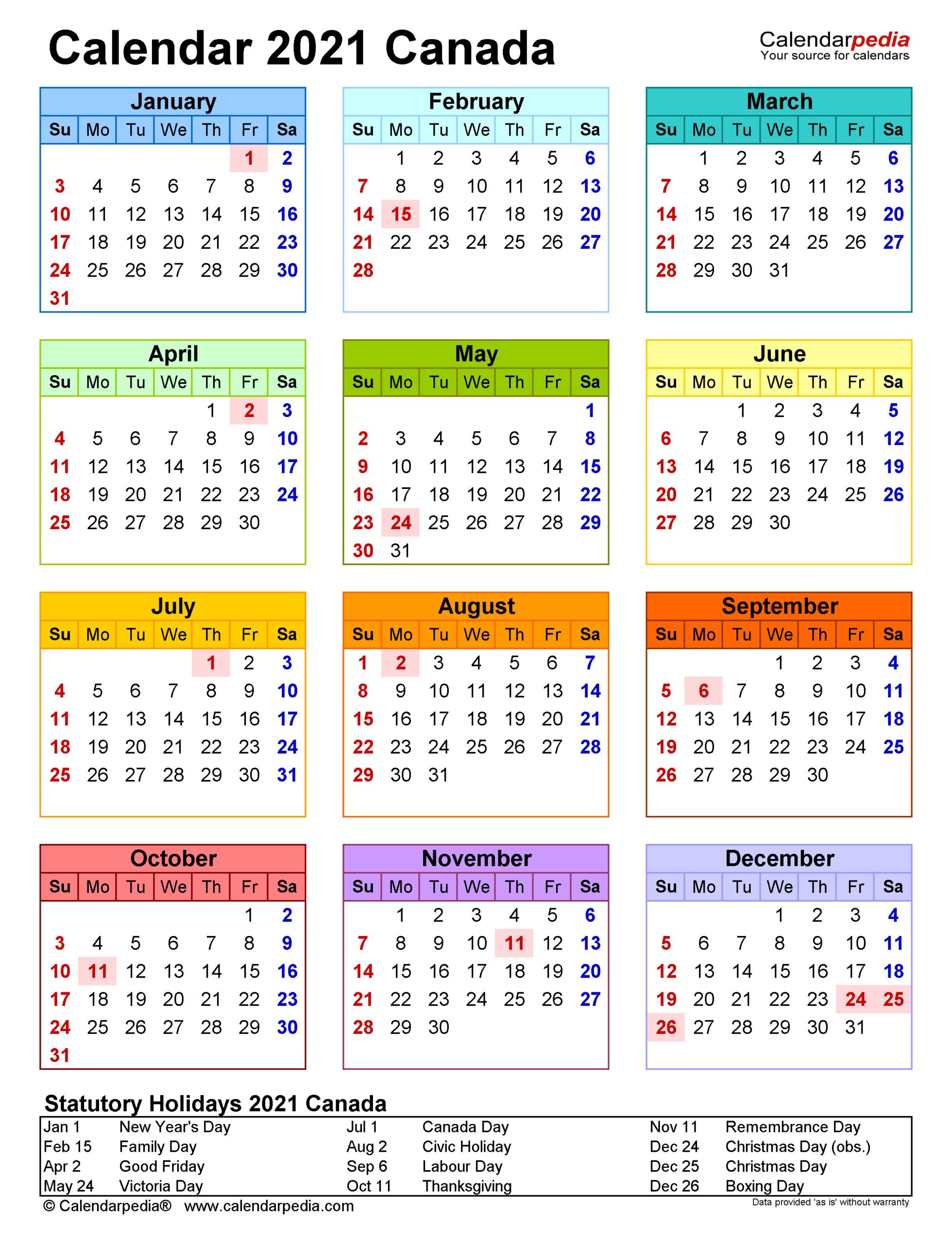 Canada Calendar 2021 - Free Printable Pdf Templates