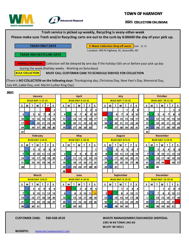 Correct 2021 Waste Management Pick Up Schedule