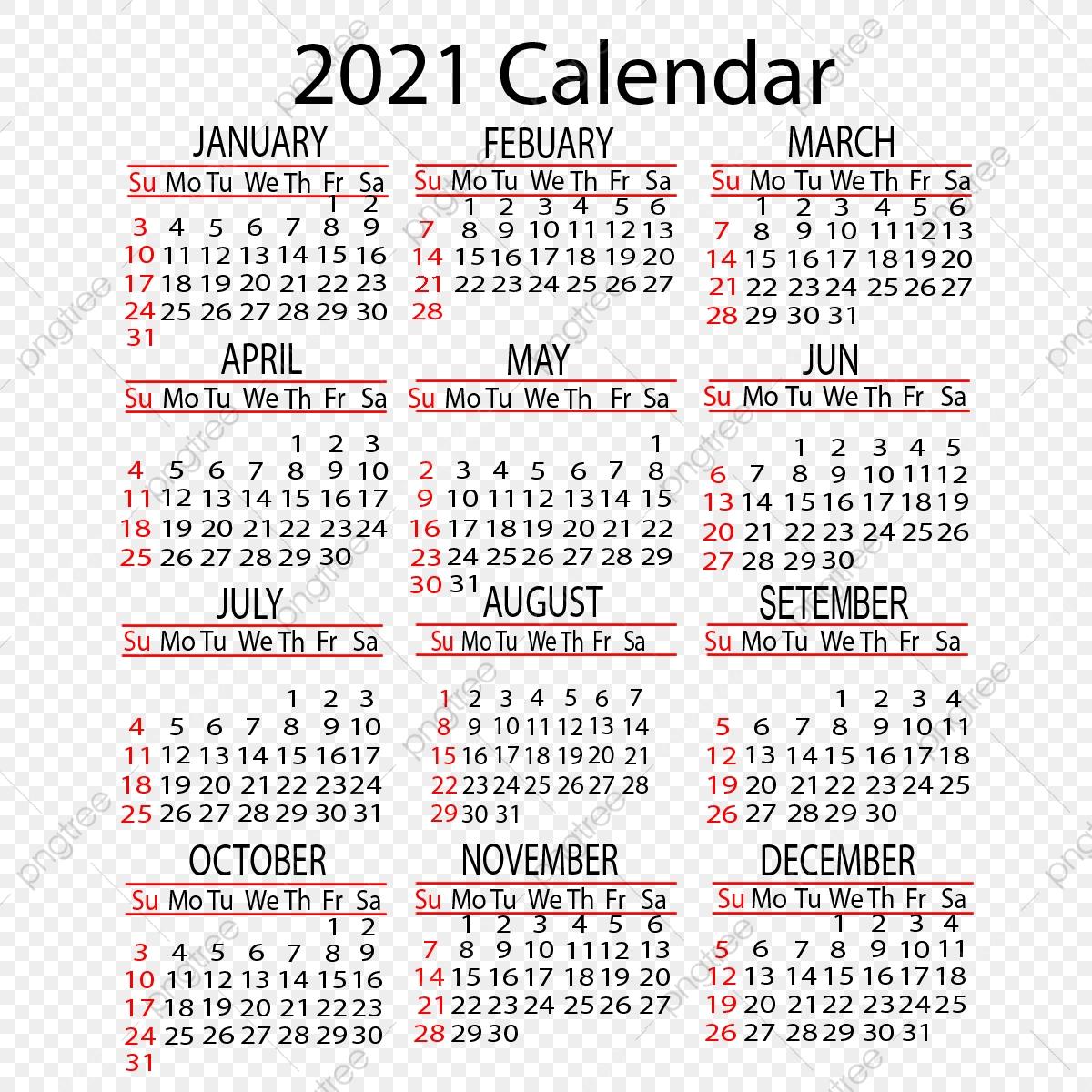 تقويم 2021 تصميم ناقلات سنوي, 2021, التقويم, السنة Png وملف