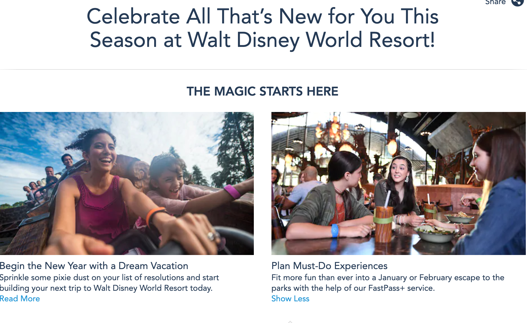 Disney World Website Page Noting Fastpass+ Returning In