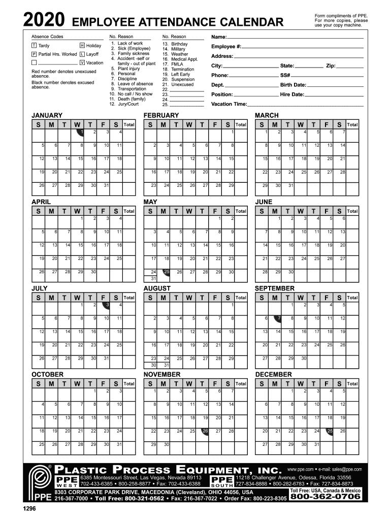 Employee Attendance Calendar 2020 - Fill Online, Printable