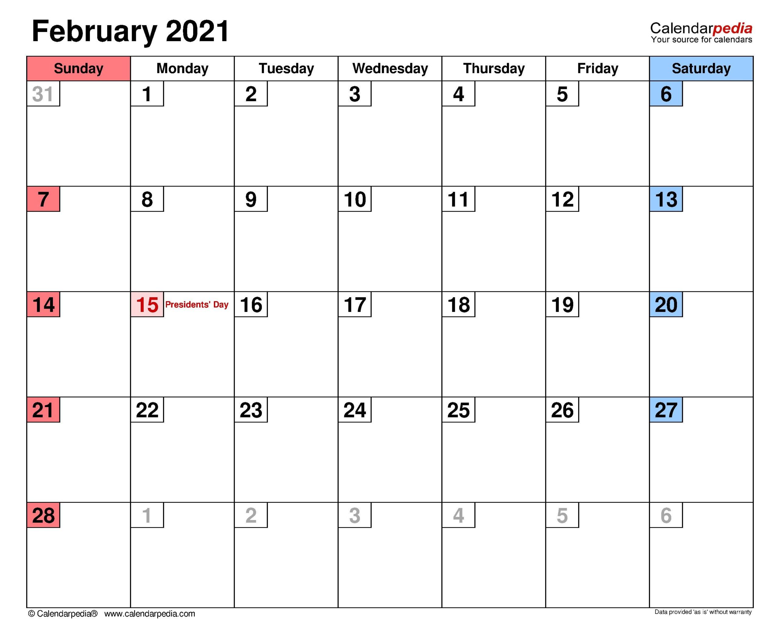 February 2021 Calendar With Canada Flag