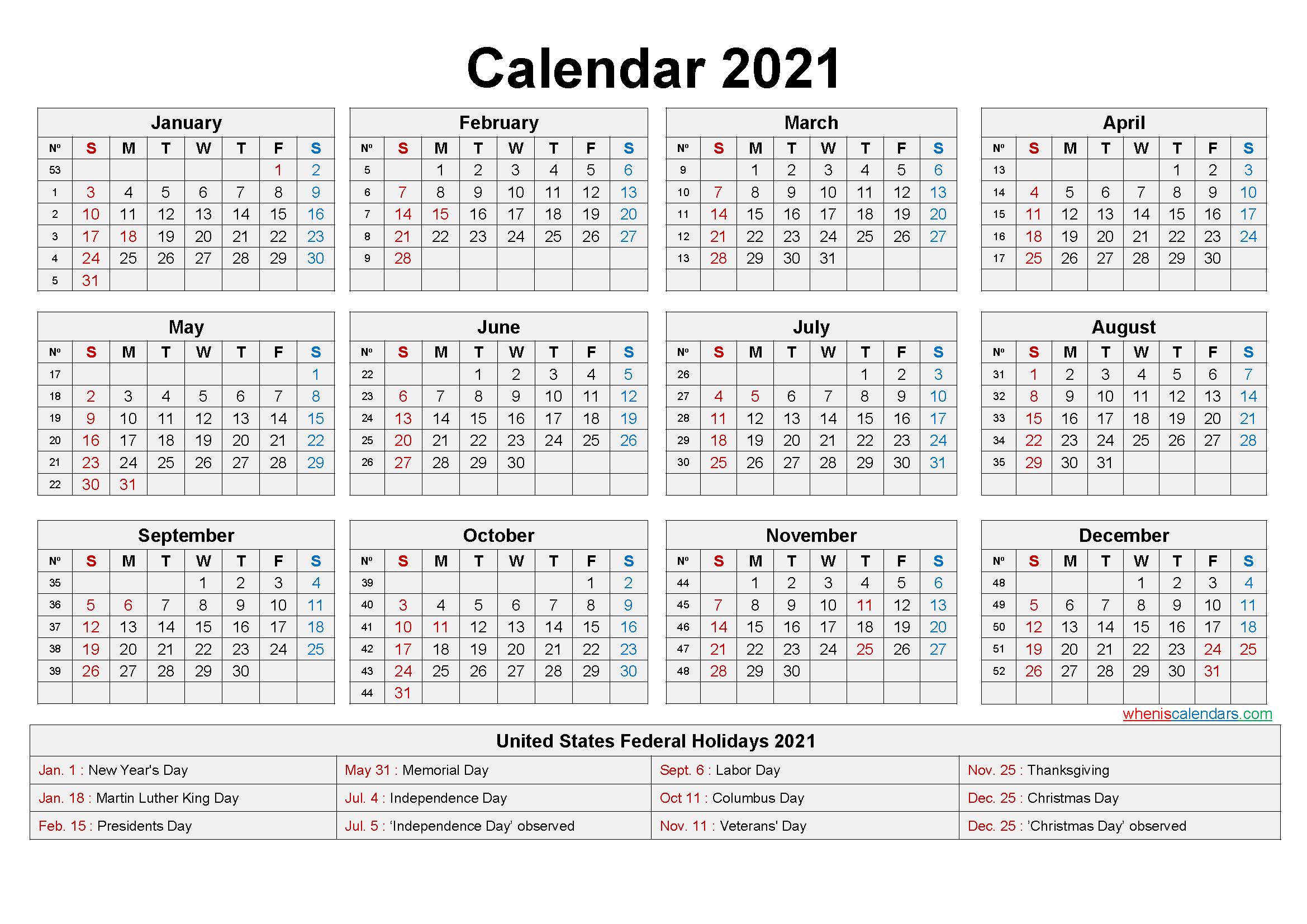 Federal Calendar 2021