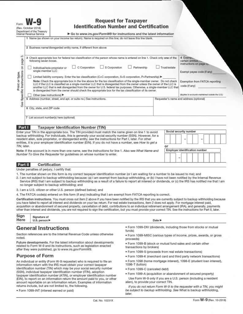 Form W-9 With Regard To Blank I 9 Form 2020 In 2020