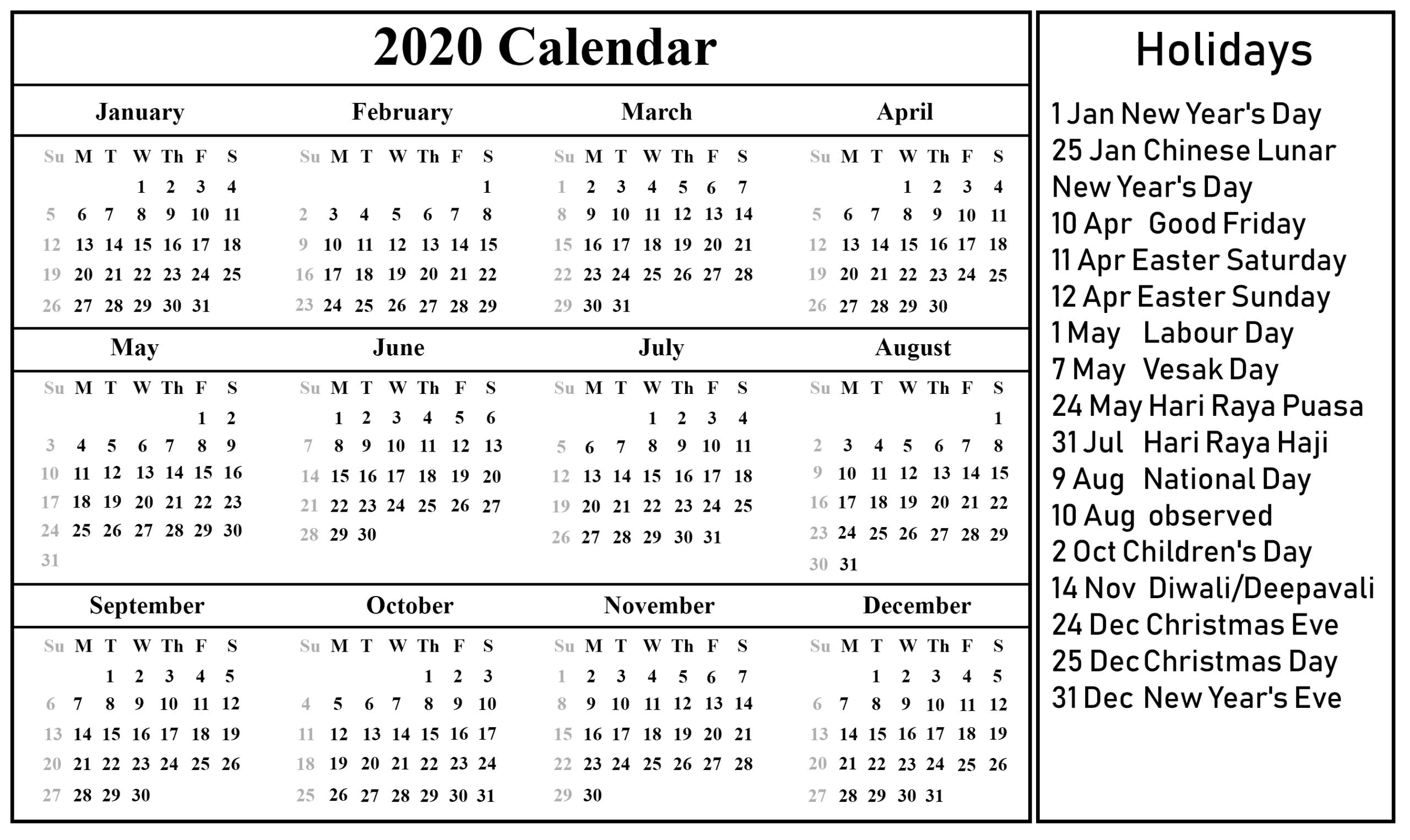 Free Blank Singapore Calendar 2020 In Pdf, Excel & Word Format