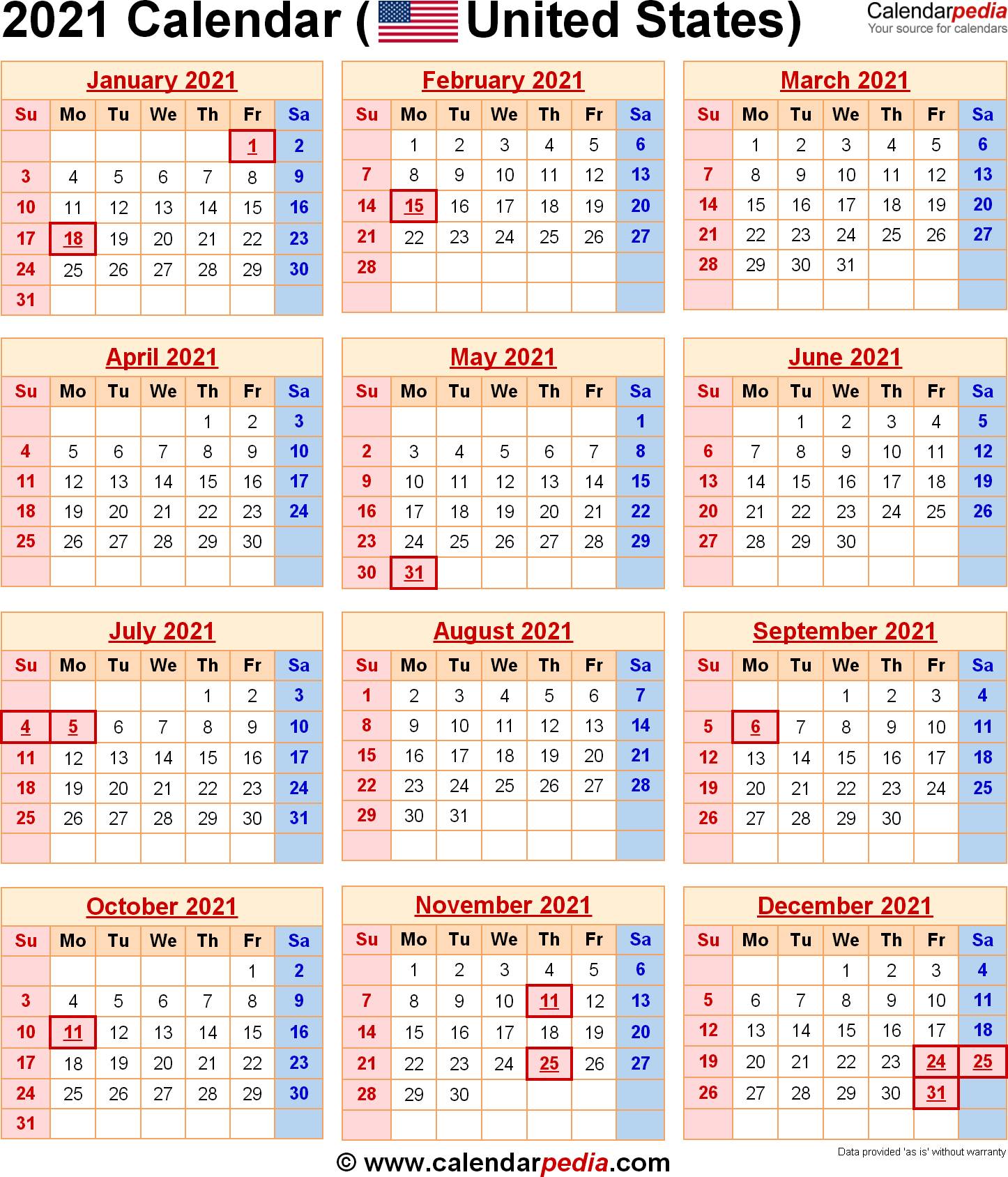Free Calendars 2021 Printable Federal Holidays